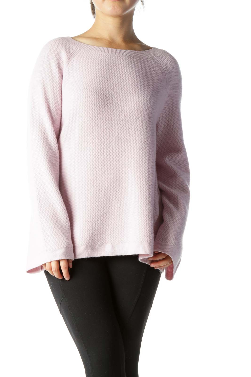 Light Pink Round-Neck Wide-Long-Sleeves Knit Sweater
