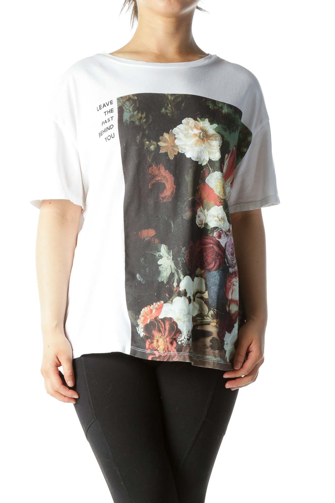 White Green Front-Floral Print 100% Cotton T-Shirt