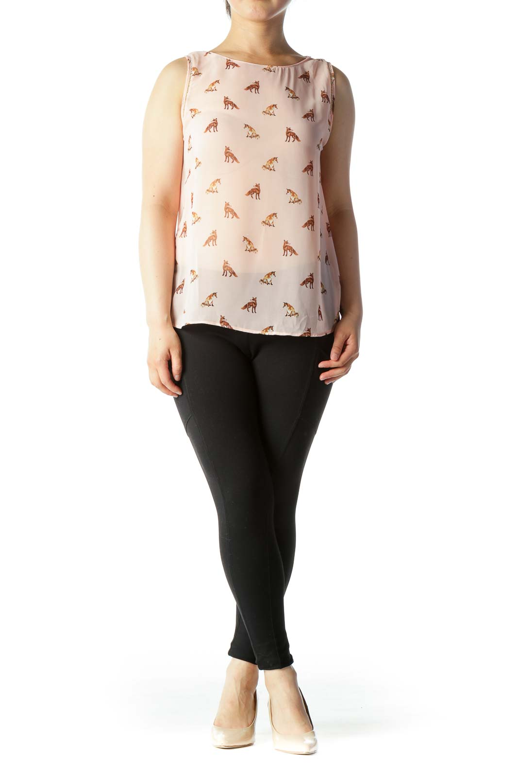 Coral Pink Foxes Print Sleeves Chain Detail Translucent Tank Top