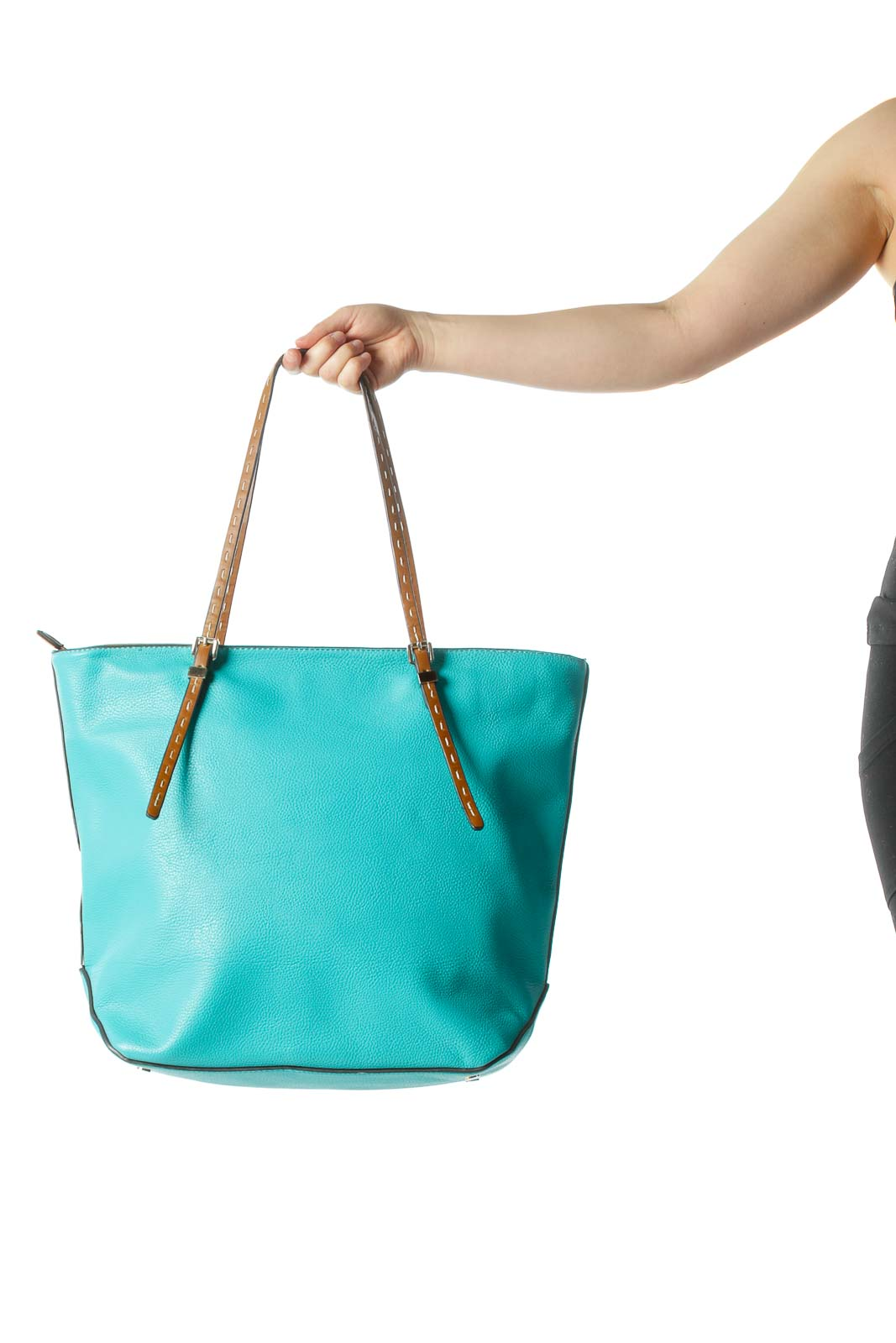 Turquoise Tote w/ Brown Straps