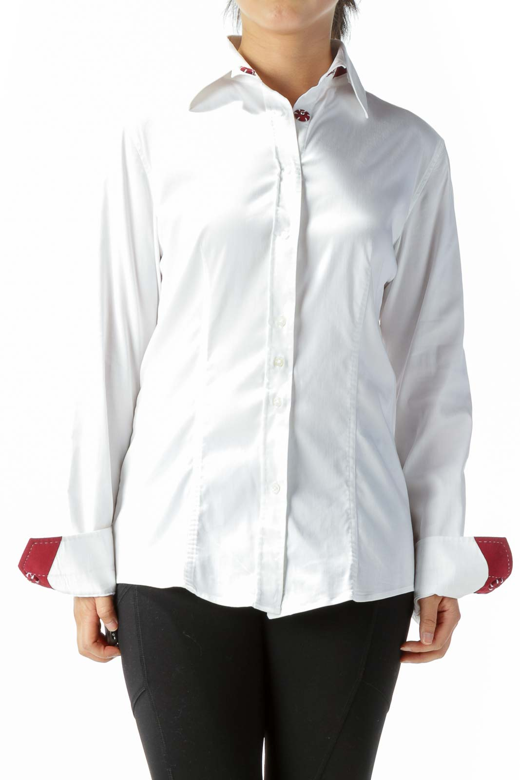 White Burgundy Red Accents Shirt