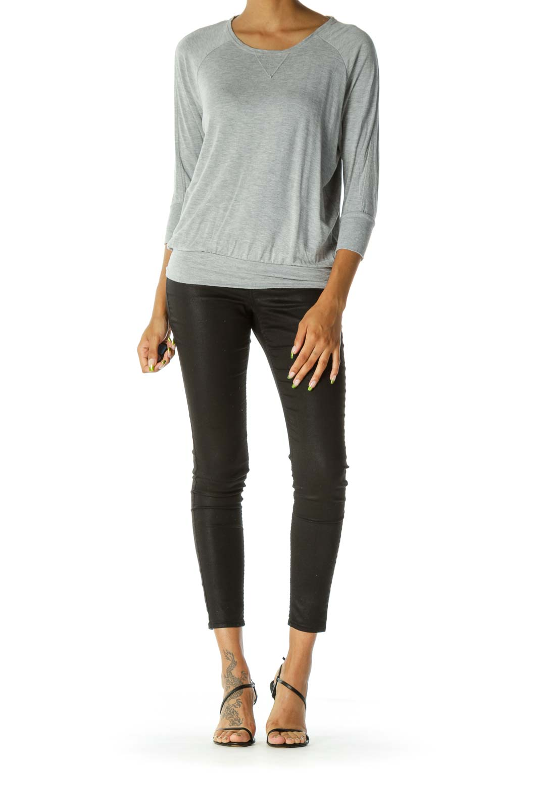 Gray Round Neck Stretch Jersey Knit Top