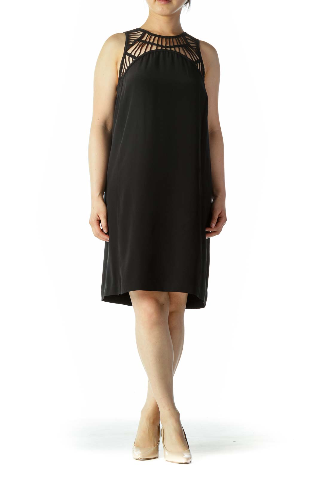 Black Knit Neckline Design Shift Day Dress