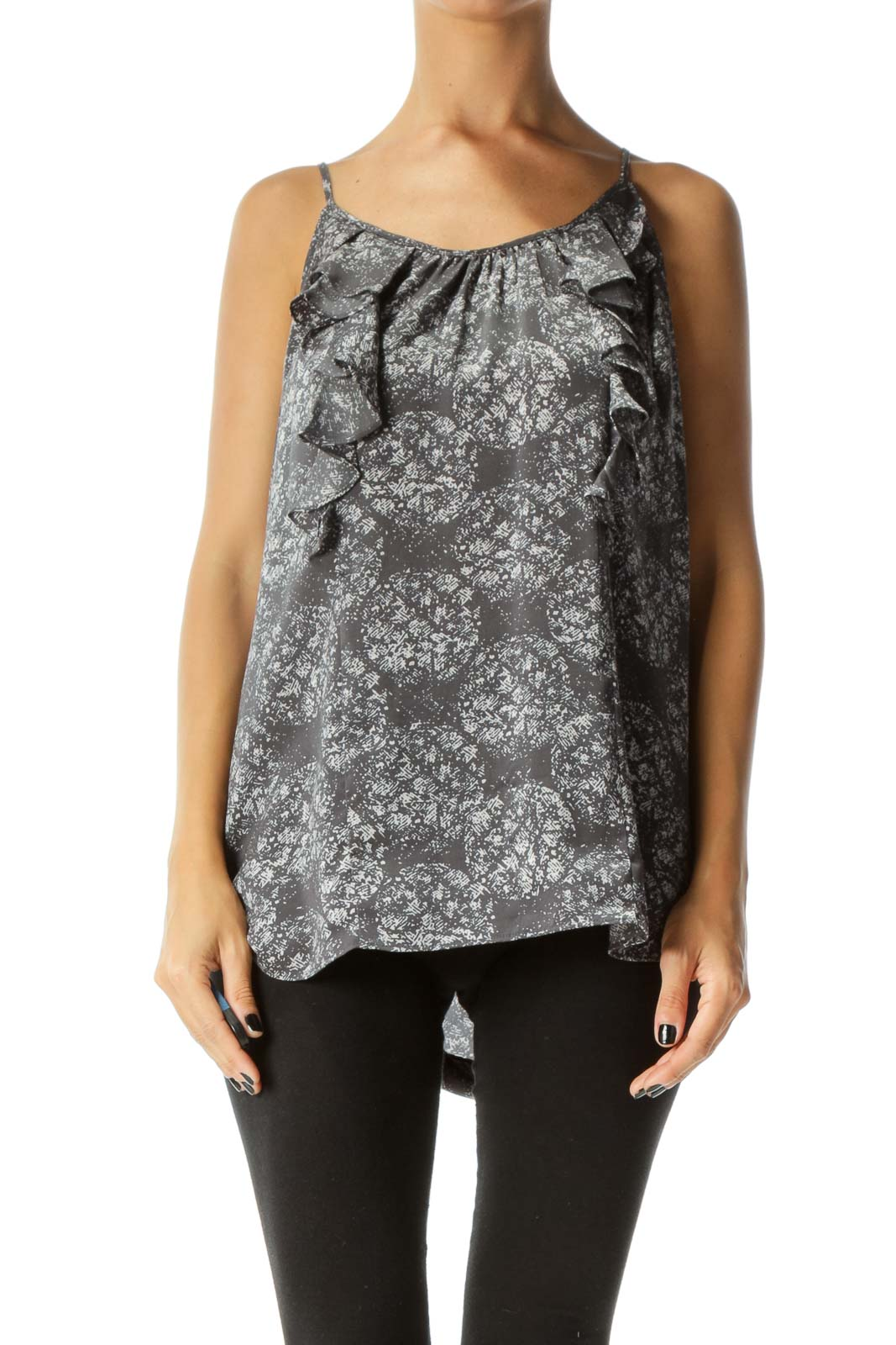 Gray Print Front Ruffles Sleeveless Shift Top