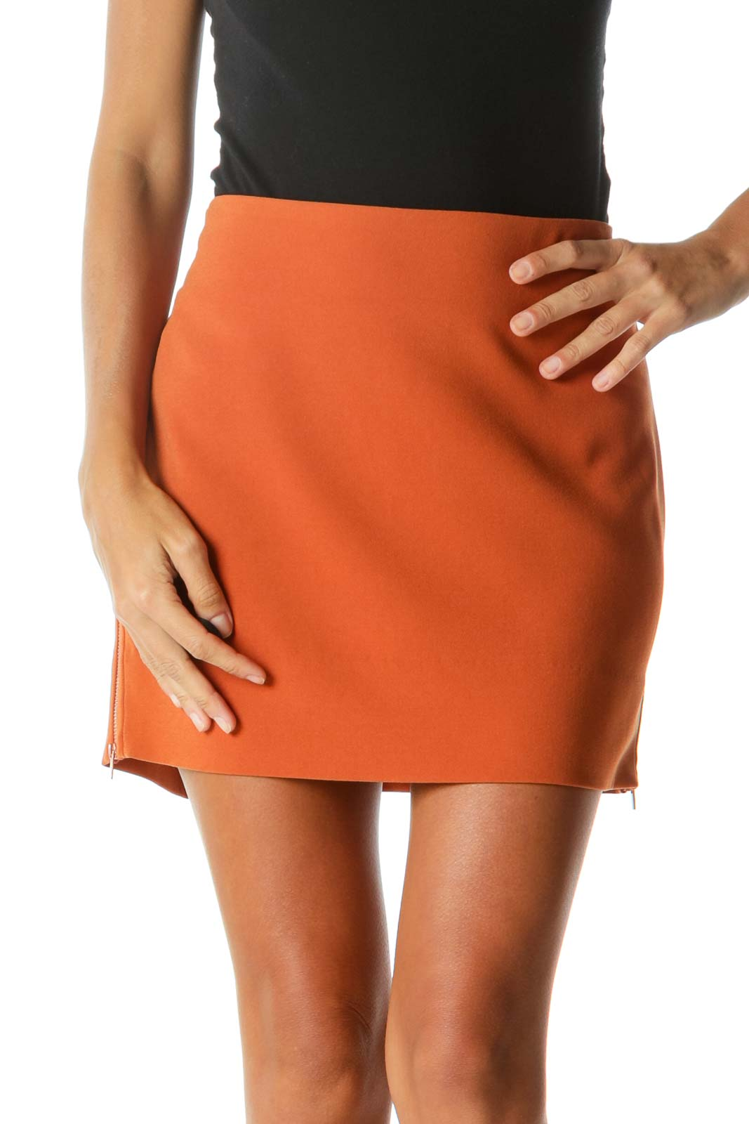 Orange Rose Gold Side Zippers Mini Skirt