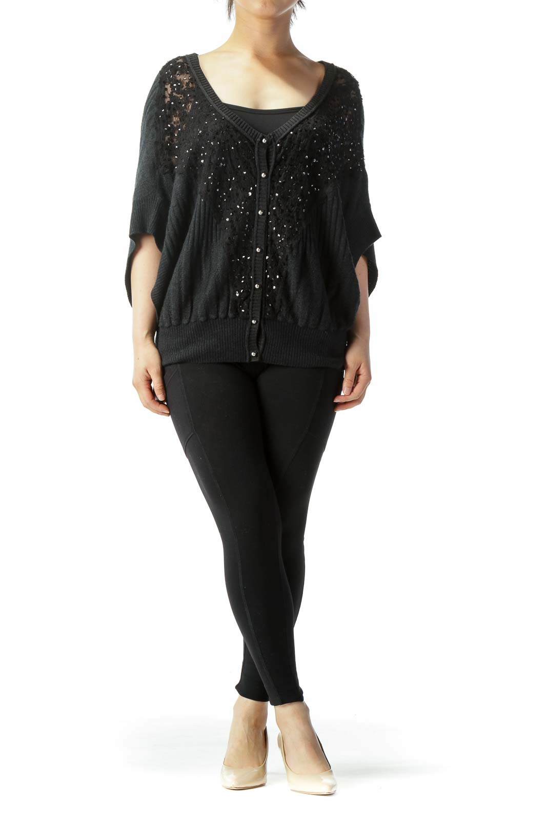Black Sequin and Lace Front Bat-Sleeve Short Sweater