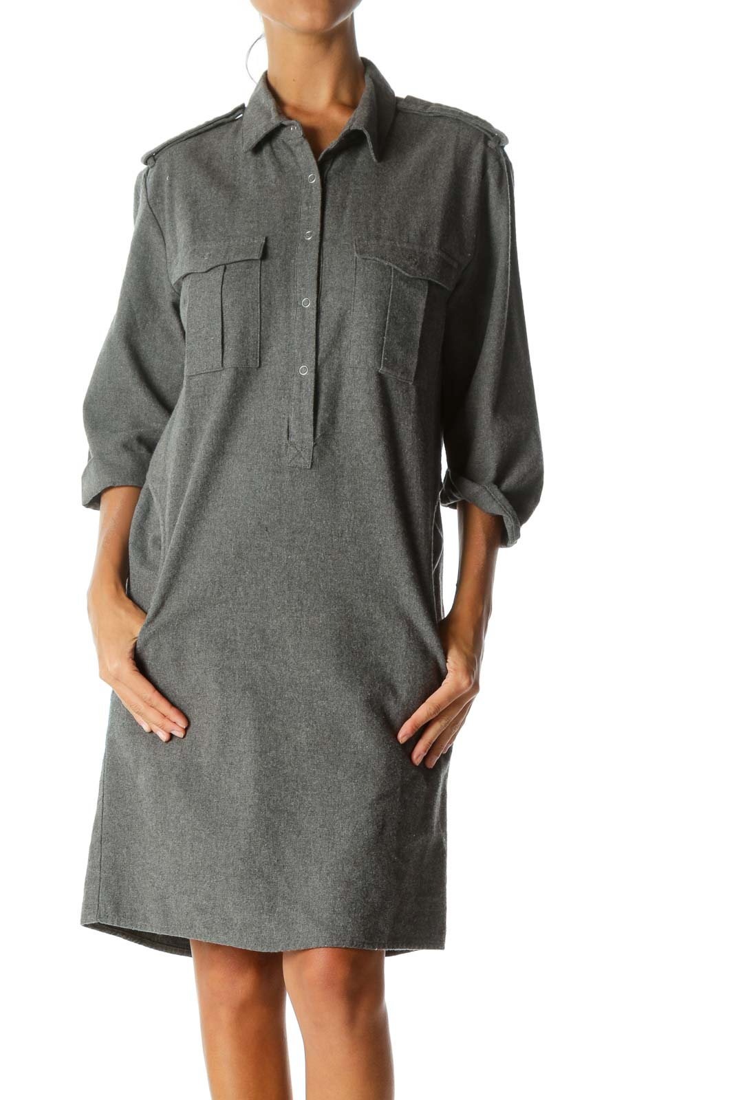 Grey Collared Pocketed Shirt Dress