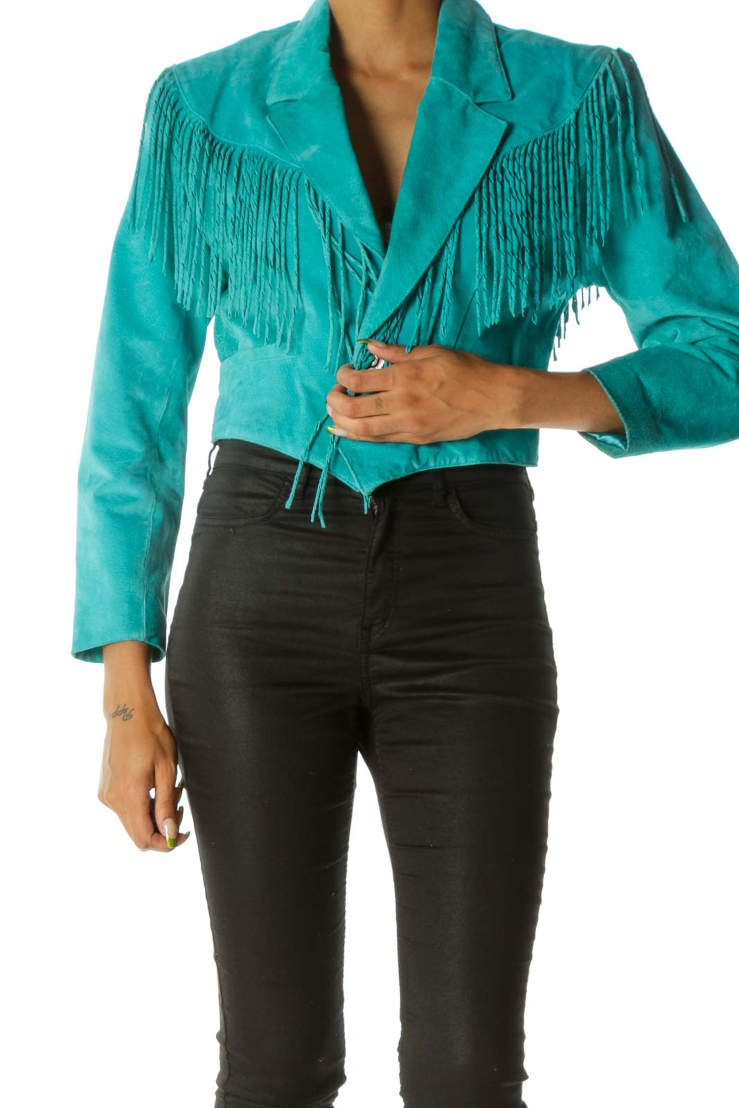 Teal Blue Padded Fringe Genuine Suede Jacket