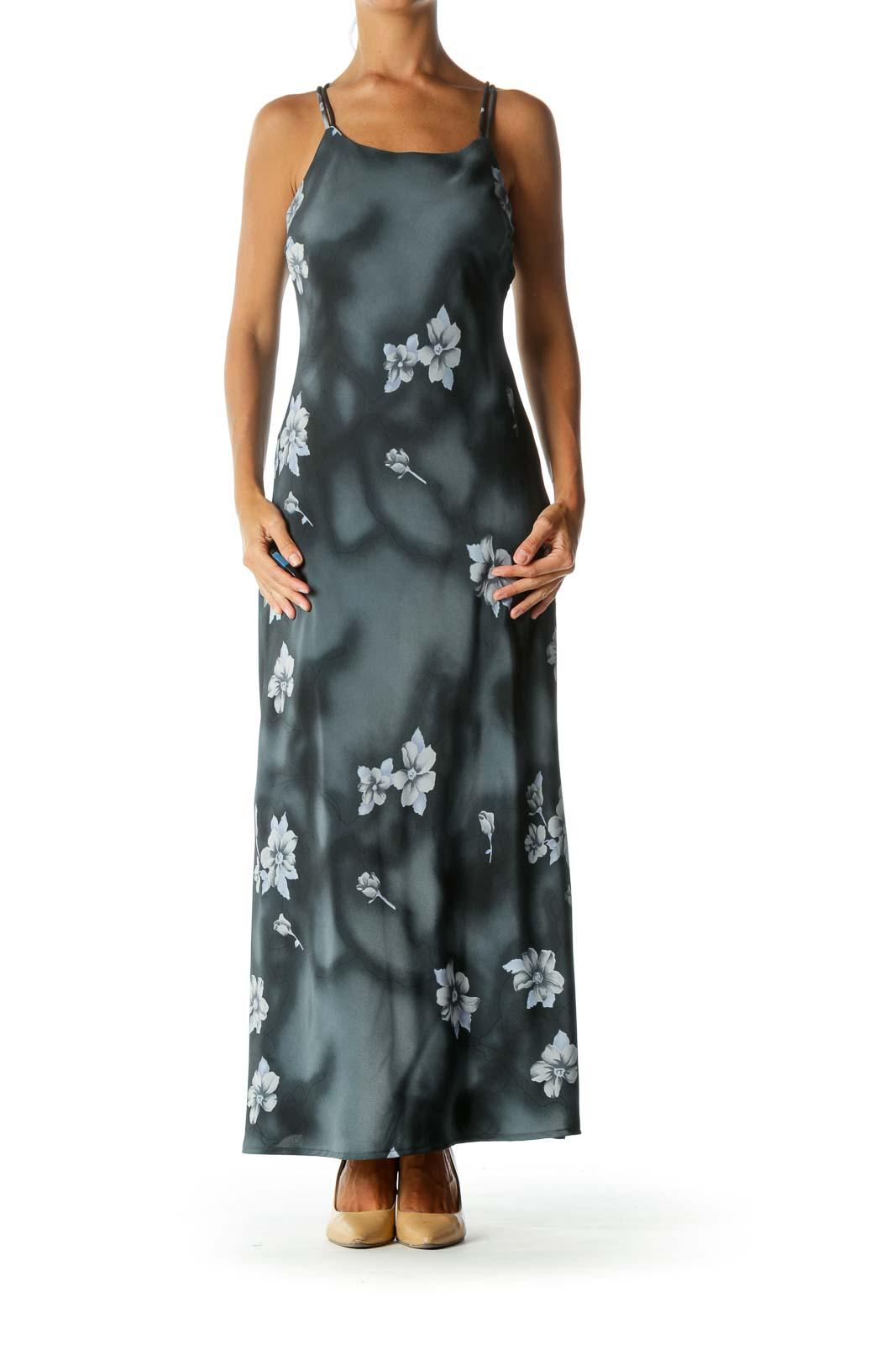 Navy Floral Spaghetti Strap Back-Detail Maxi Dress