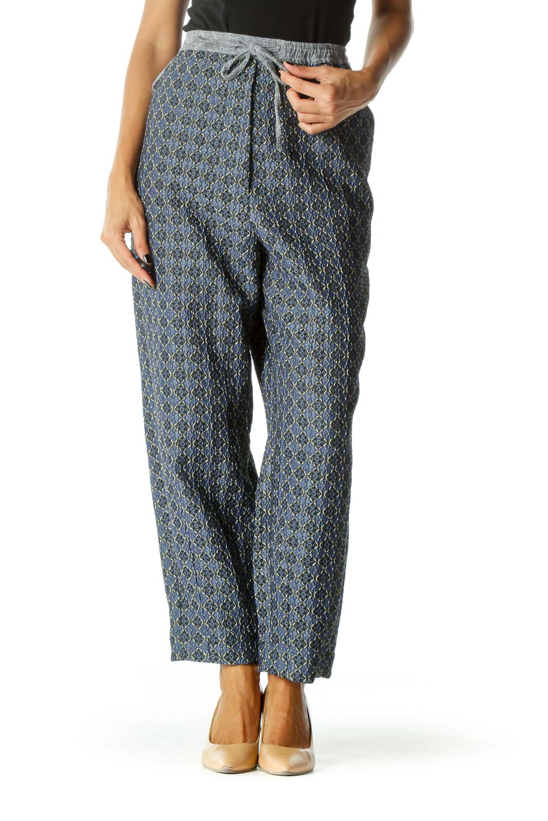 Blue Patterned Tapered Pants