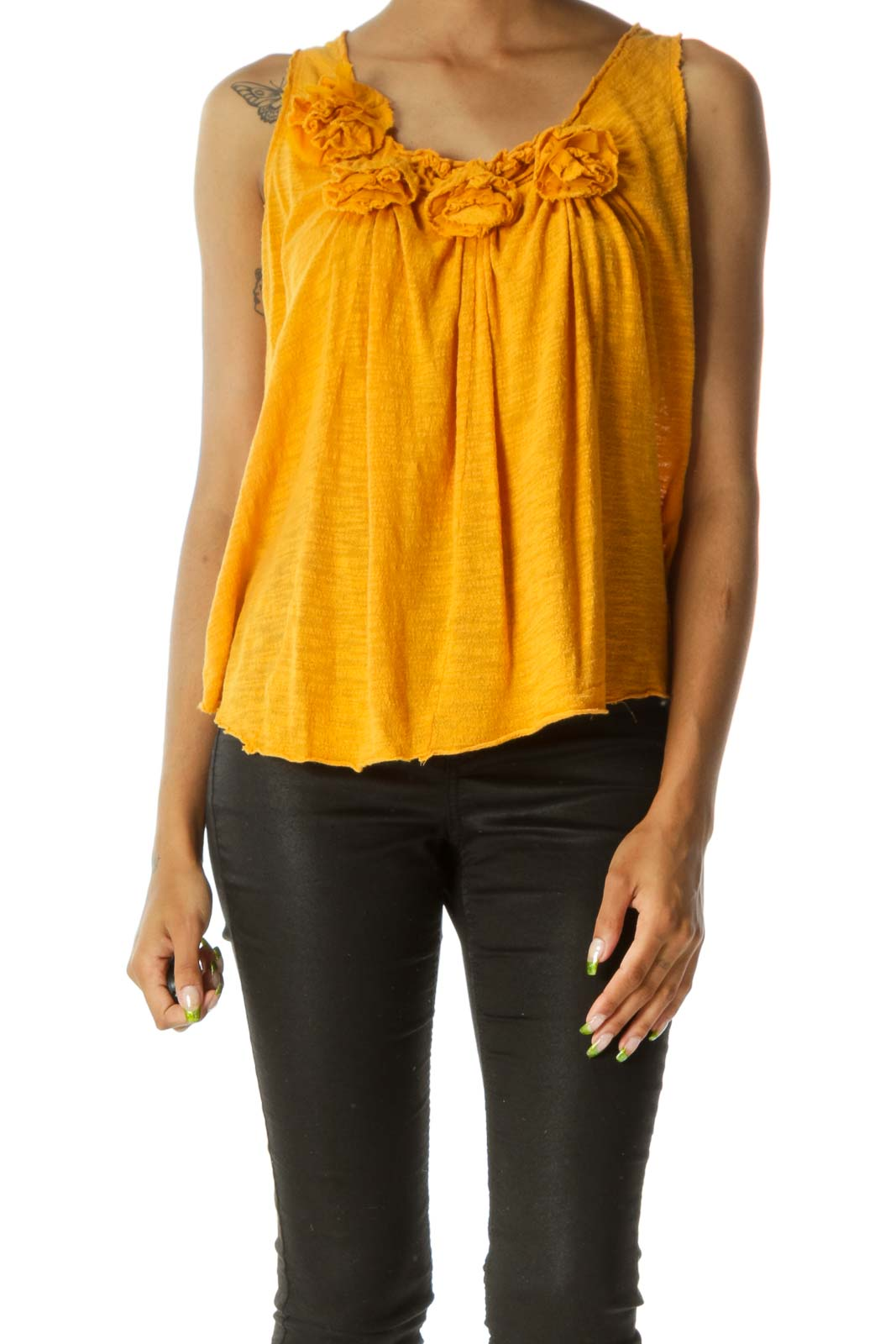 Old-Gold-Yellow 100% Cotton Flower-Appliques Knit Tank