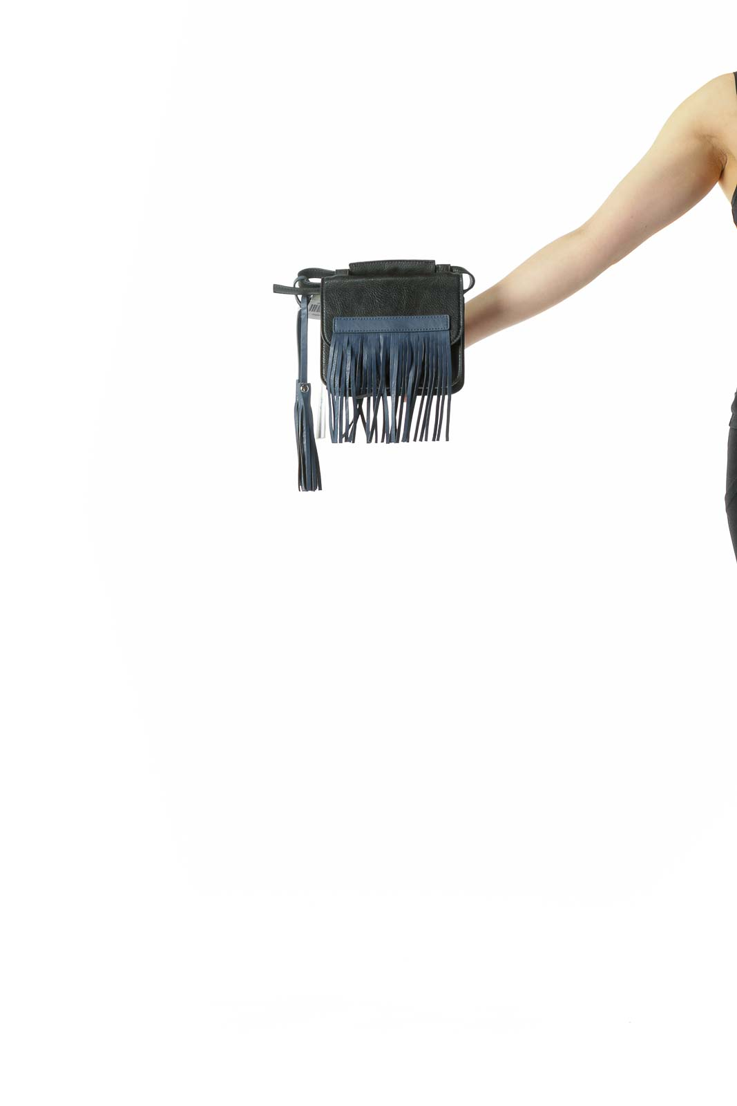 Black Blue Fringe Crossbody Bag with Tassels