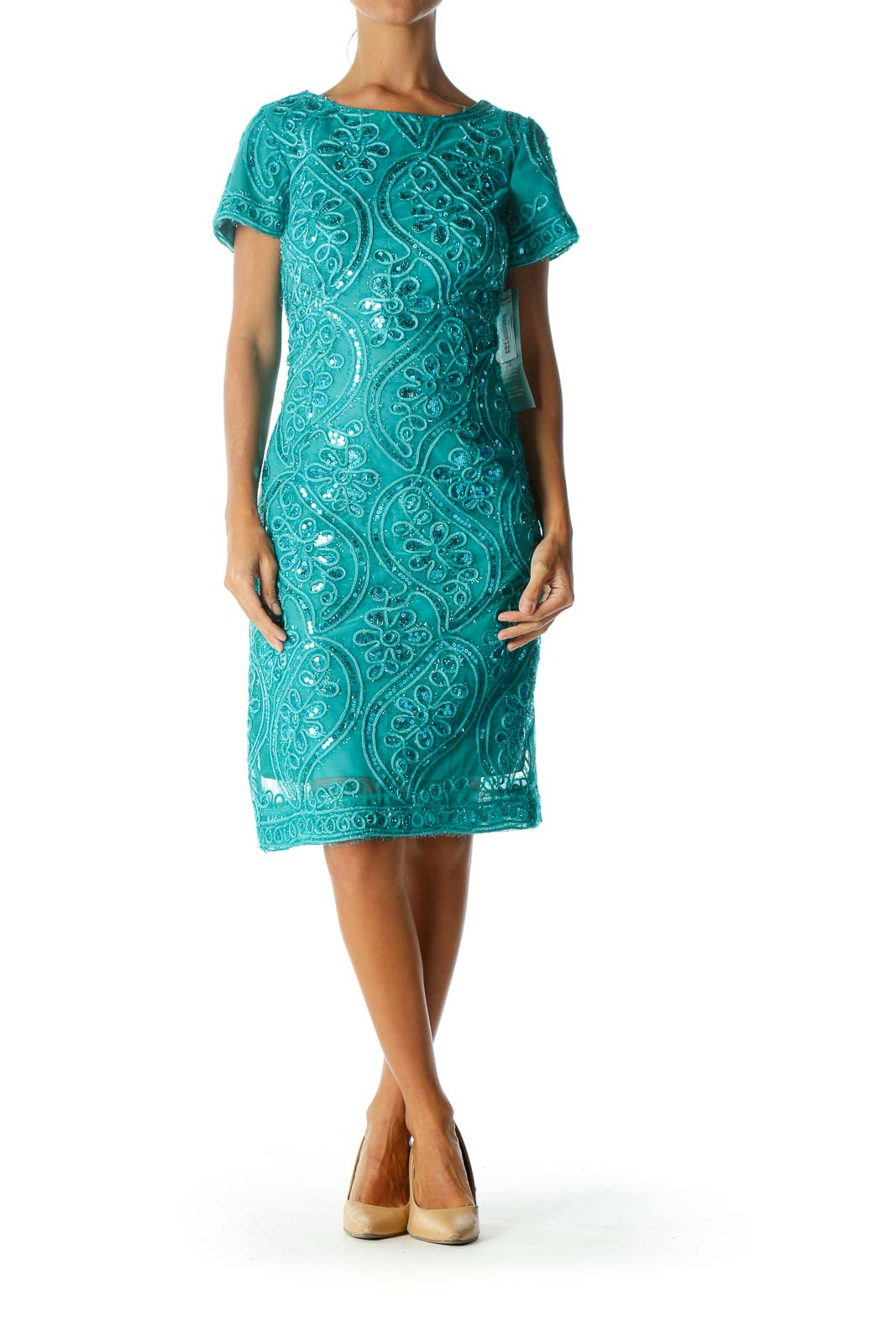 Green Metallic Low Back Cocktail Dress