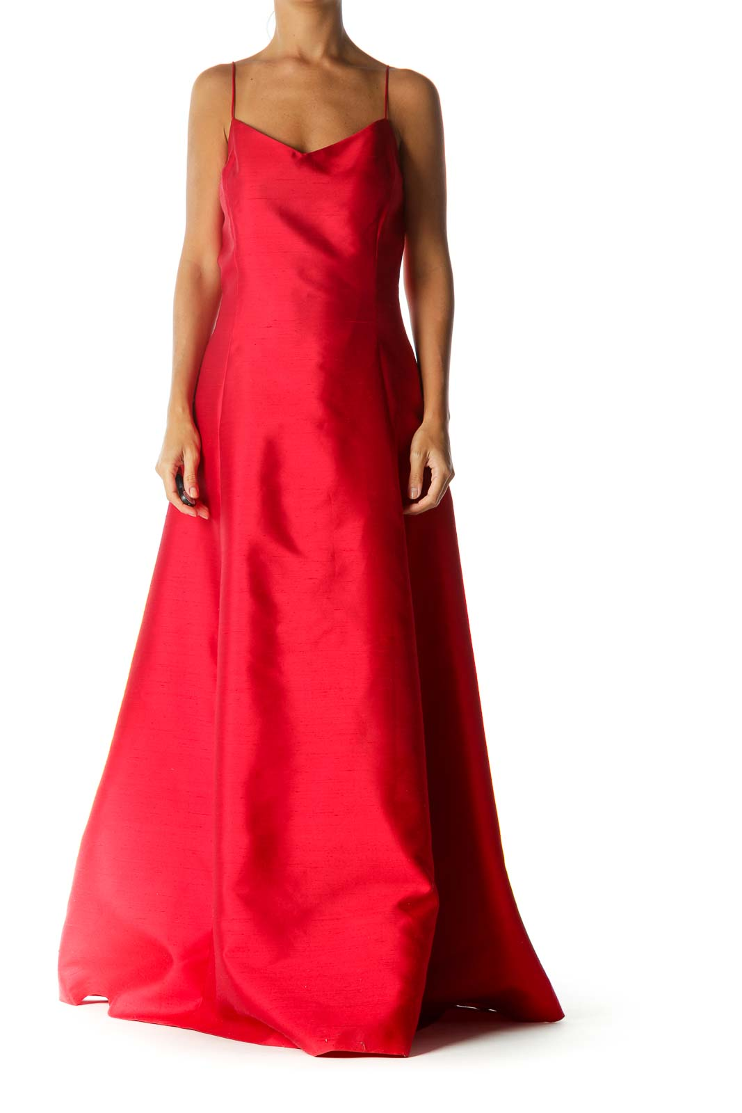 Red Silk Blend Sweetheart Neckline Spaghetti Strap Back V-Neck Evening Dress