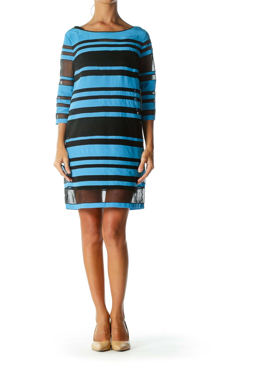 Blue & Black Mesh-Detail Designer Short-Sleeve Dress