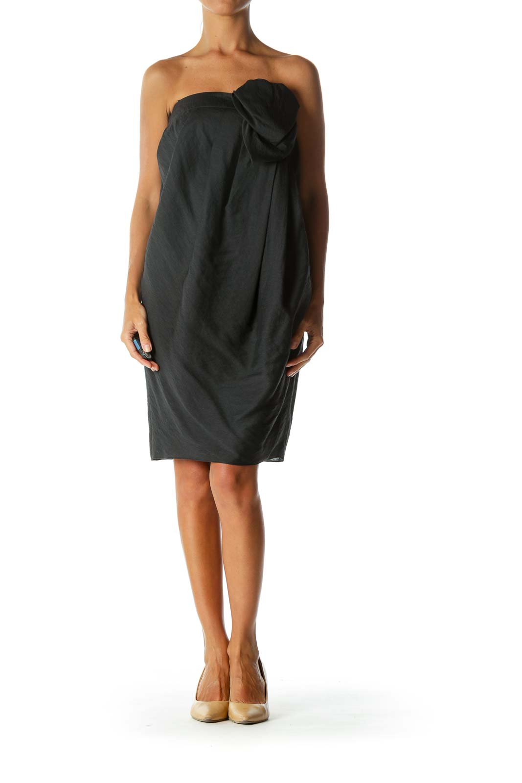 Black Strapless Designer Pleated Cocktail Dress with Chest Applique