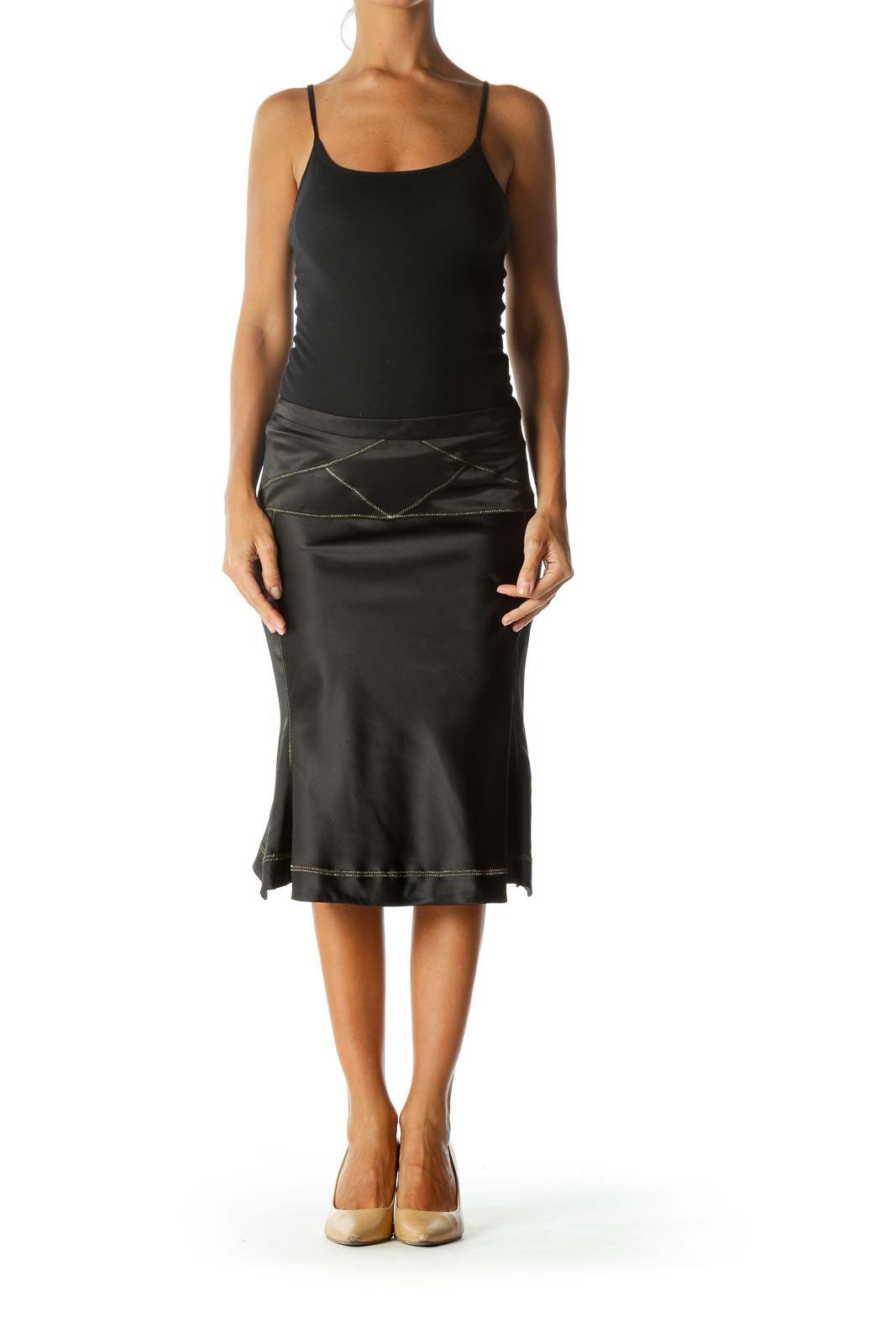 Black Flared Pencil Skirt with Gold Detail
