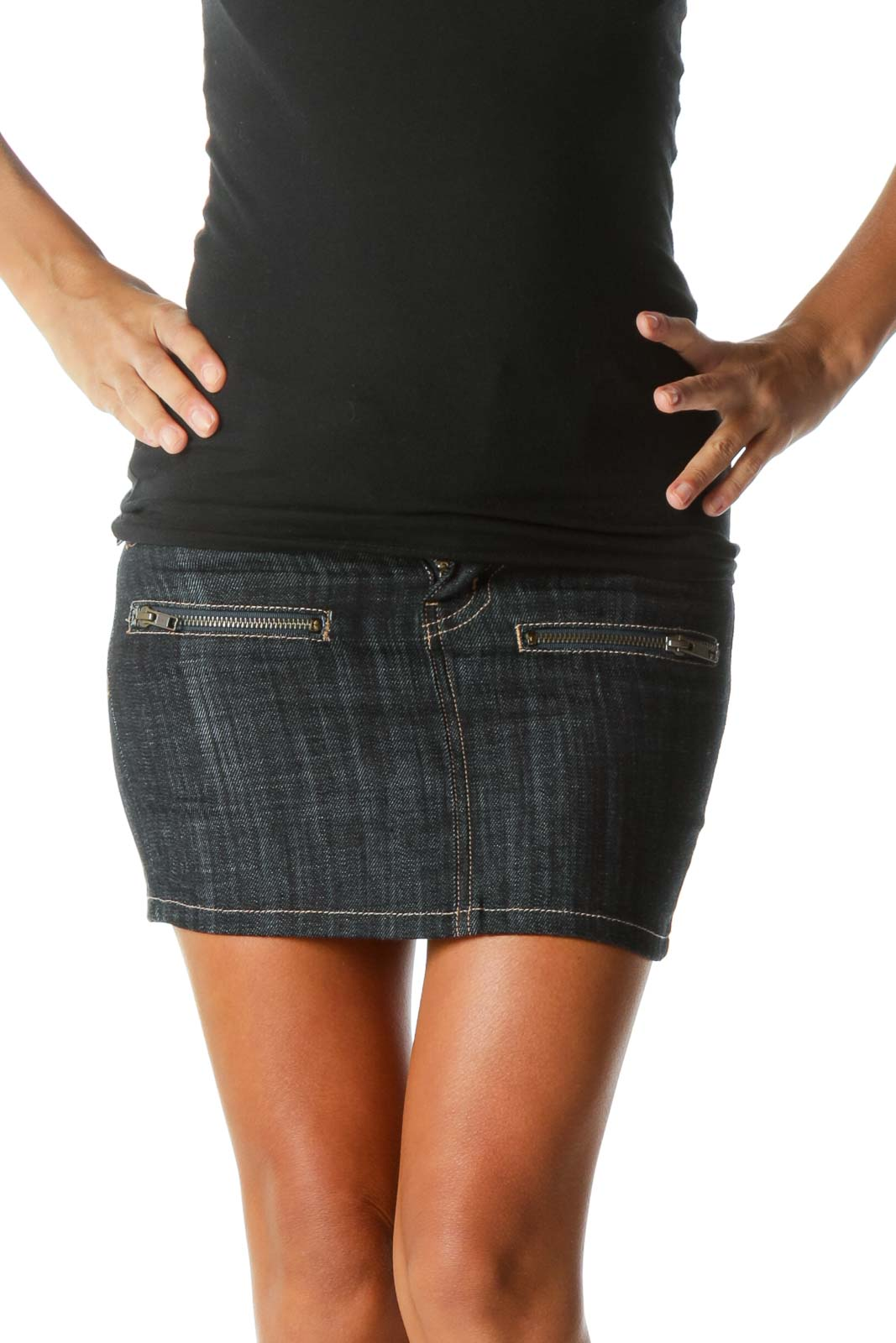 Blue Dark-Wash Zipper-Detailed Denim Skirt