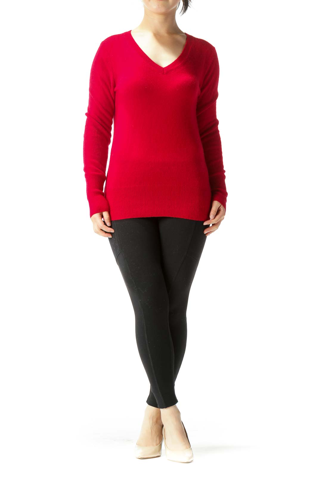 Red 100% Cashmere V-Neck Long Sleeve Sweater