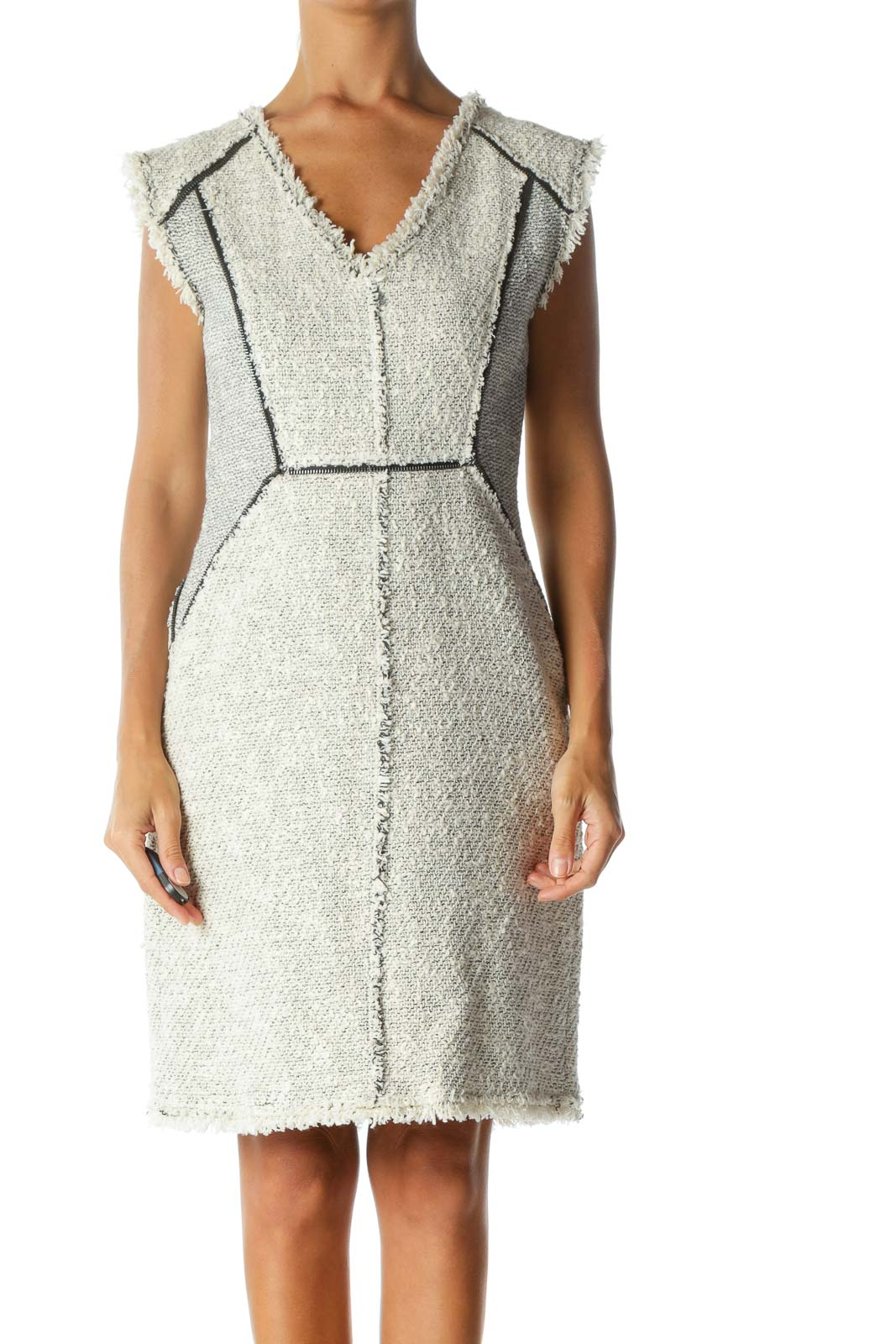 Cream & Gray Tweed Zipper-Piping Fringed-Hem Sleeveless Day Dress