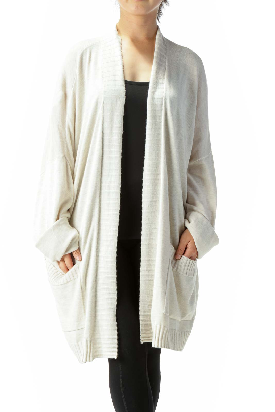 Cream Beige Pocketed Knit Bat-Long-Sleeve Cardigan