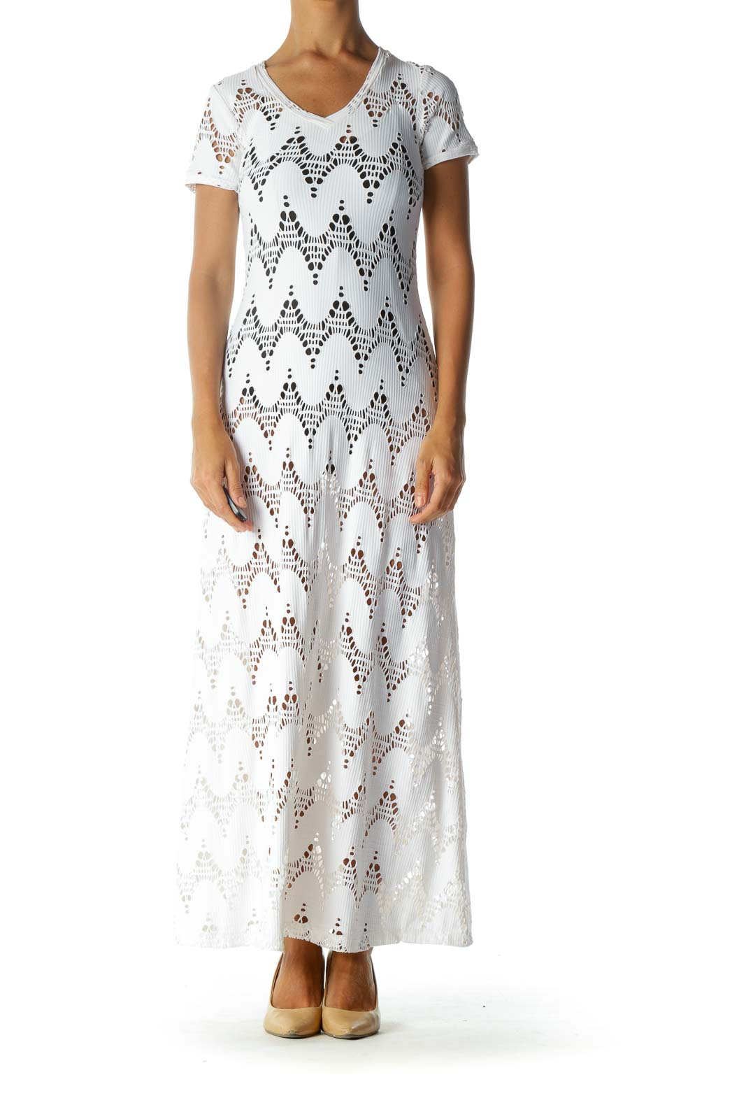 White Cut-Out Stretch Short-Sleeve Maxi-Dress
