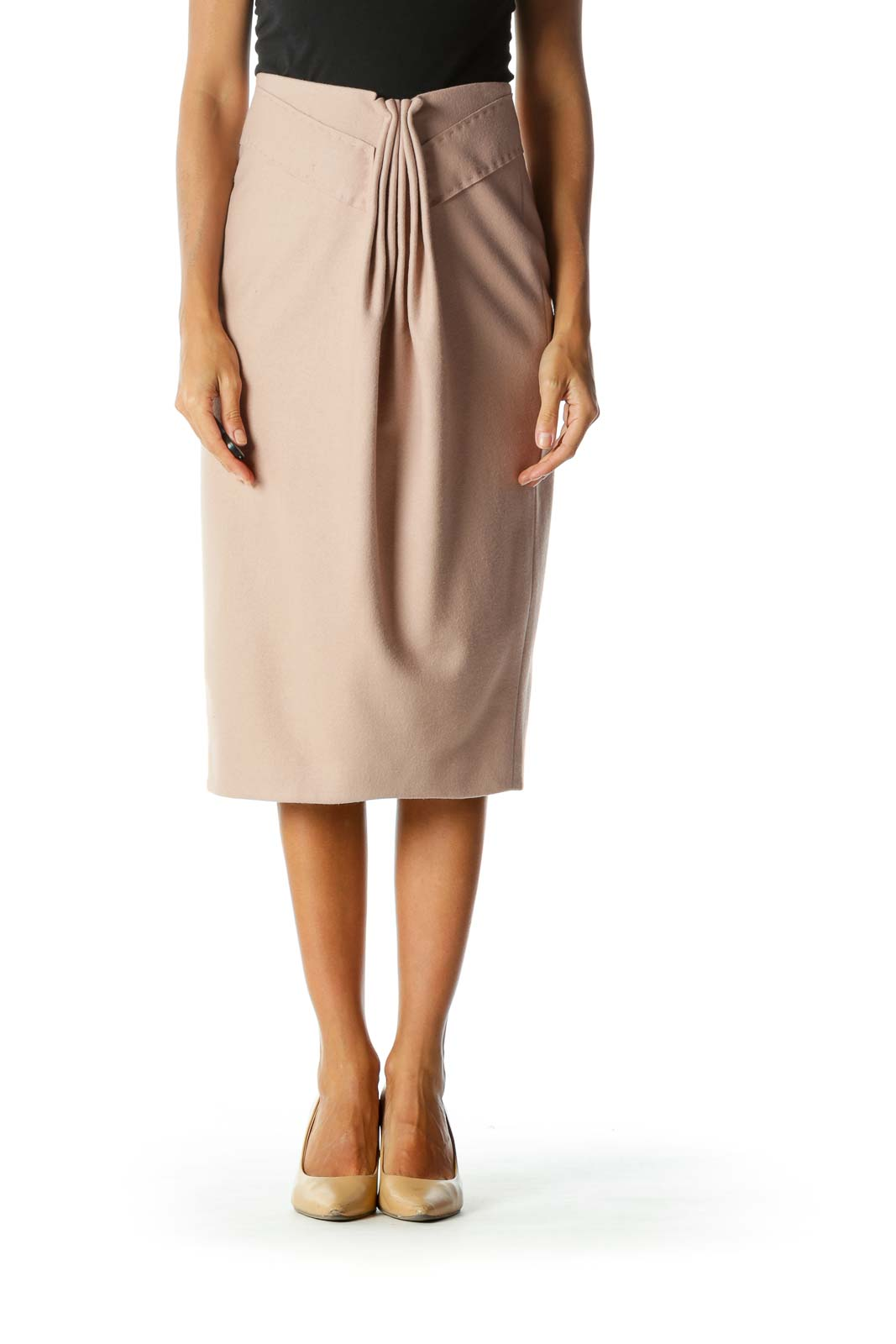 Blush Pink Wool & Cashmere Front-Gathering Midi Pencil Skirt