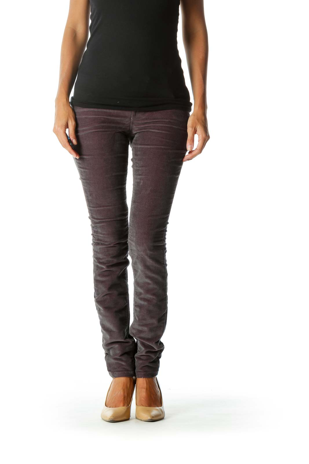 Purple & Gray Corduroy Skinny Jeans