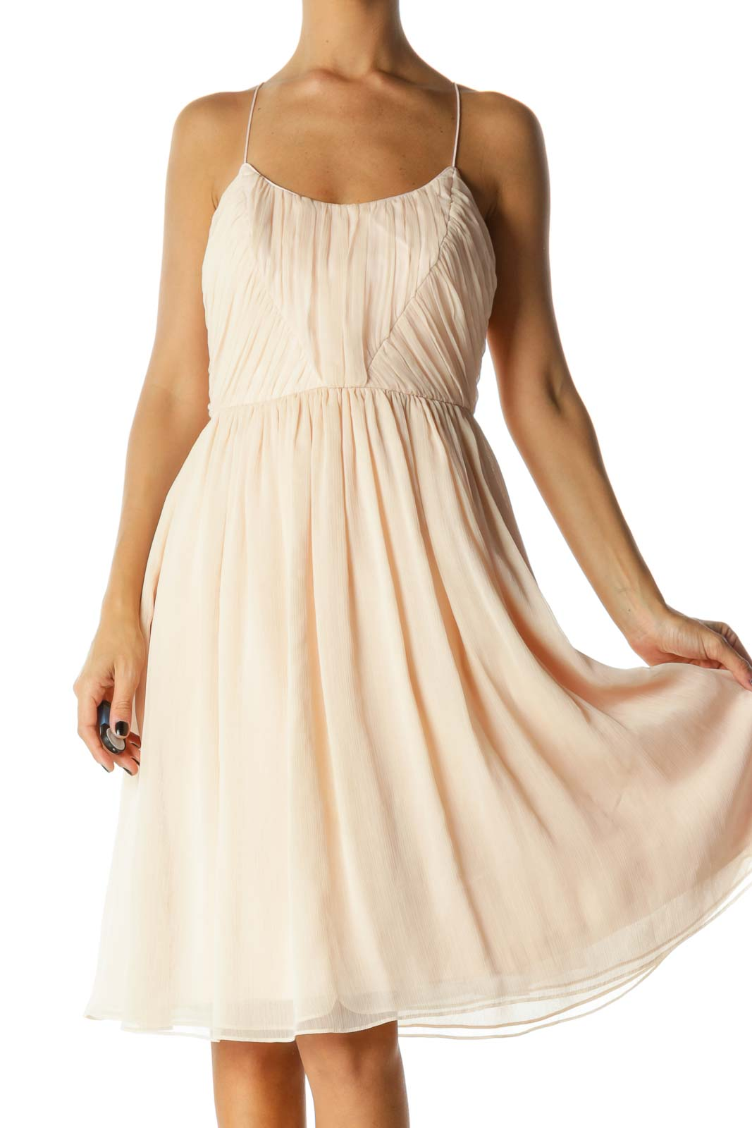 Light Pink Spaghetti Strap Pleated Day Dress