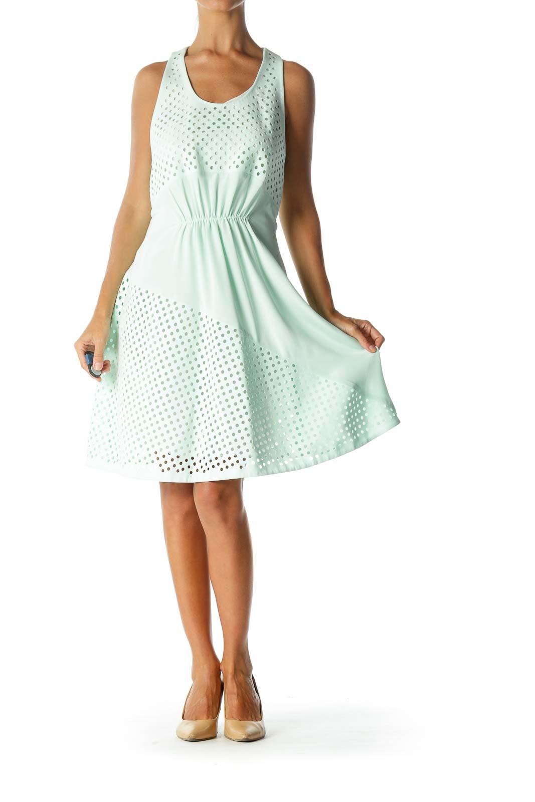 Mint Green Designer 100% Silk Circle-Cut-Out Sleeveless Day-Dress