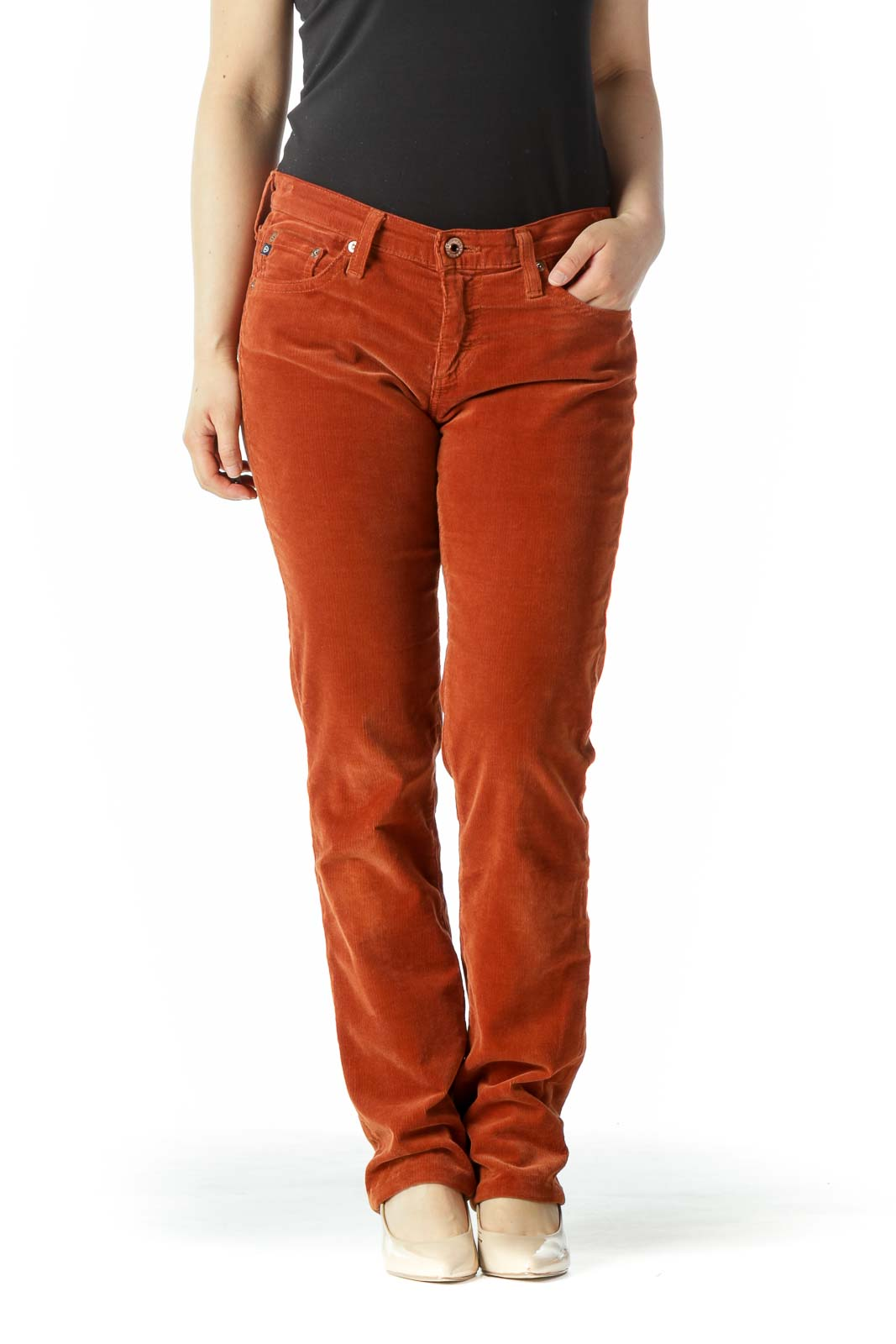 Burnt Orange Corduroy Slim Straight-Leg Stretch Pants