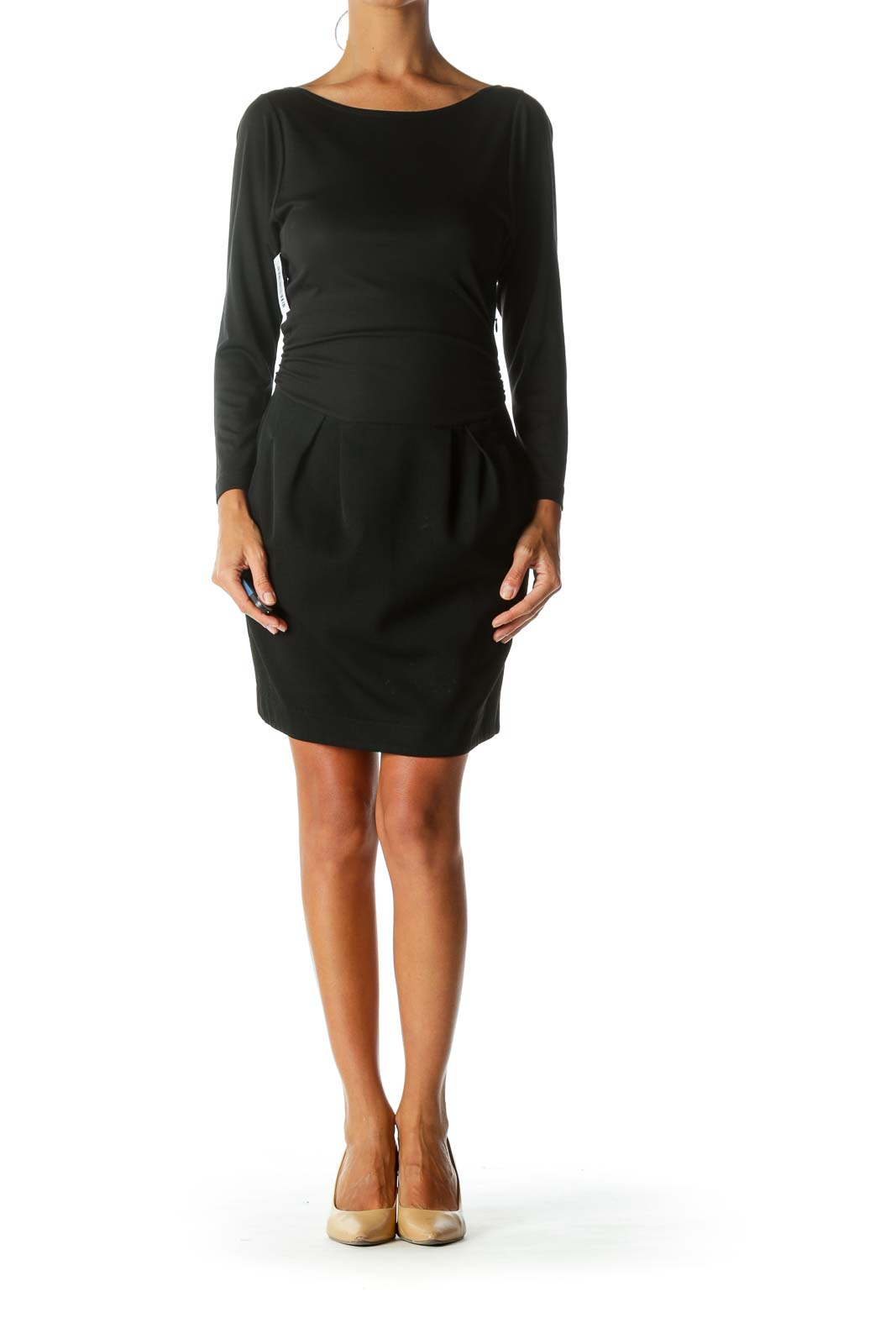 Black Long-Sleeve Mixed-Media Pleated-Skirt Pocketed Work Dress