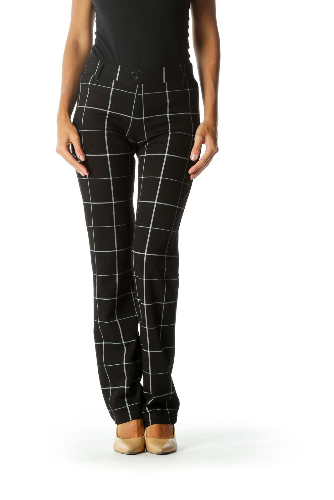 Black White Windowpane Print Elastic Waist Stretch Pull-On Pants