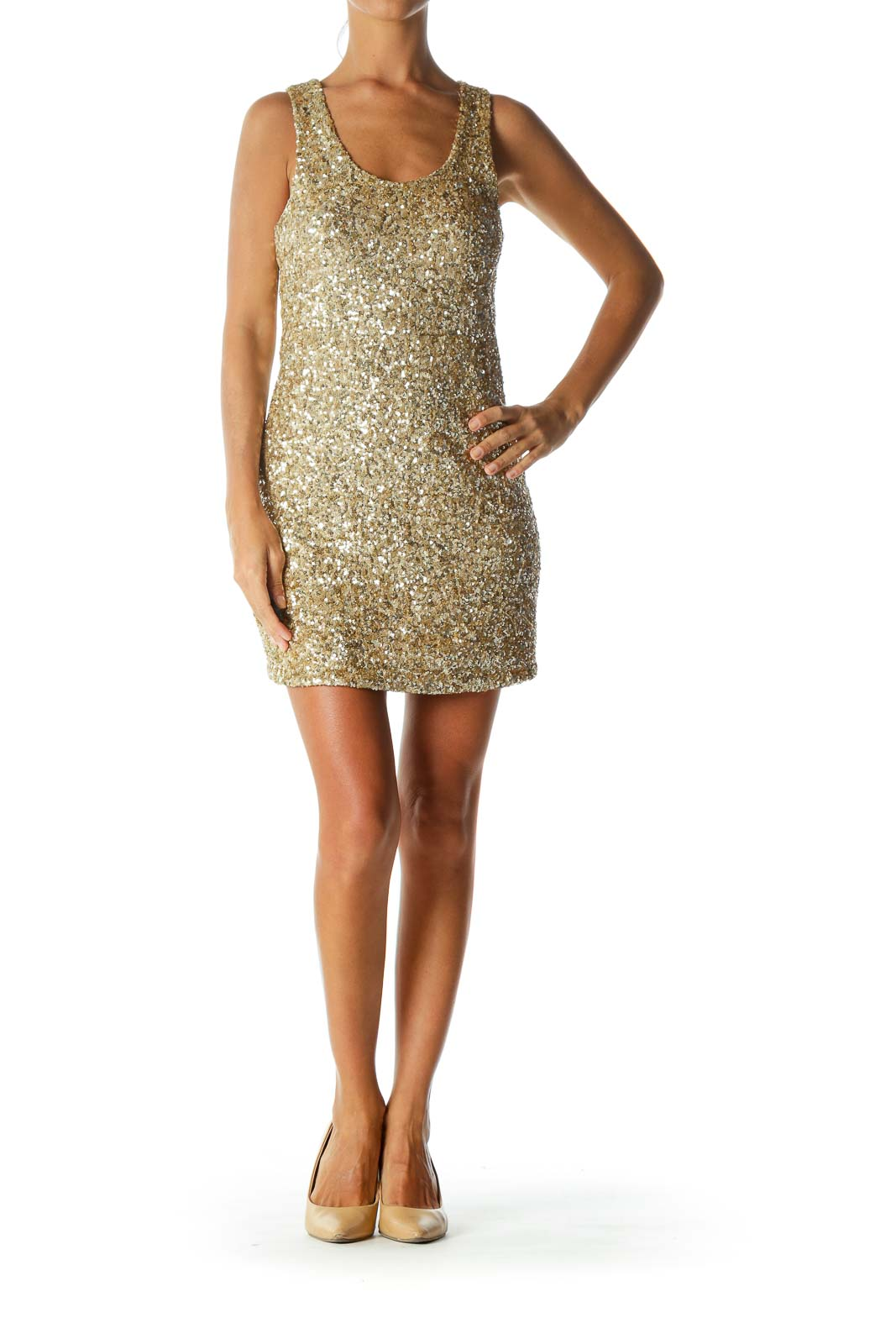 Gold Round-Neck Sequined Pull-On Stretch Cocktail Dress
