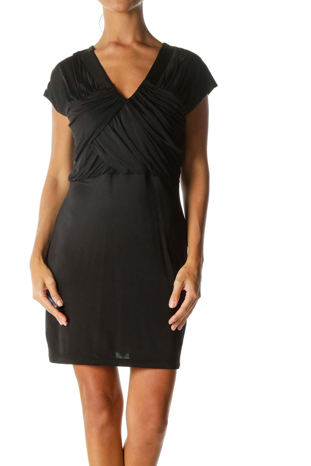 Black Breast-Pleated Cap-Sleeve Cocktail Dress