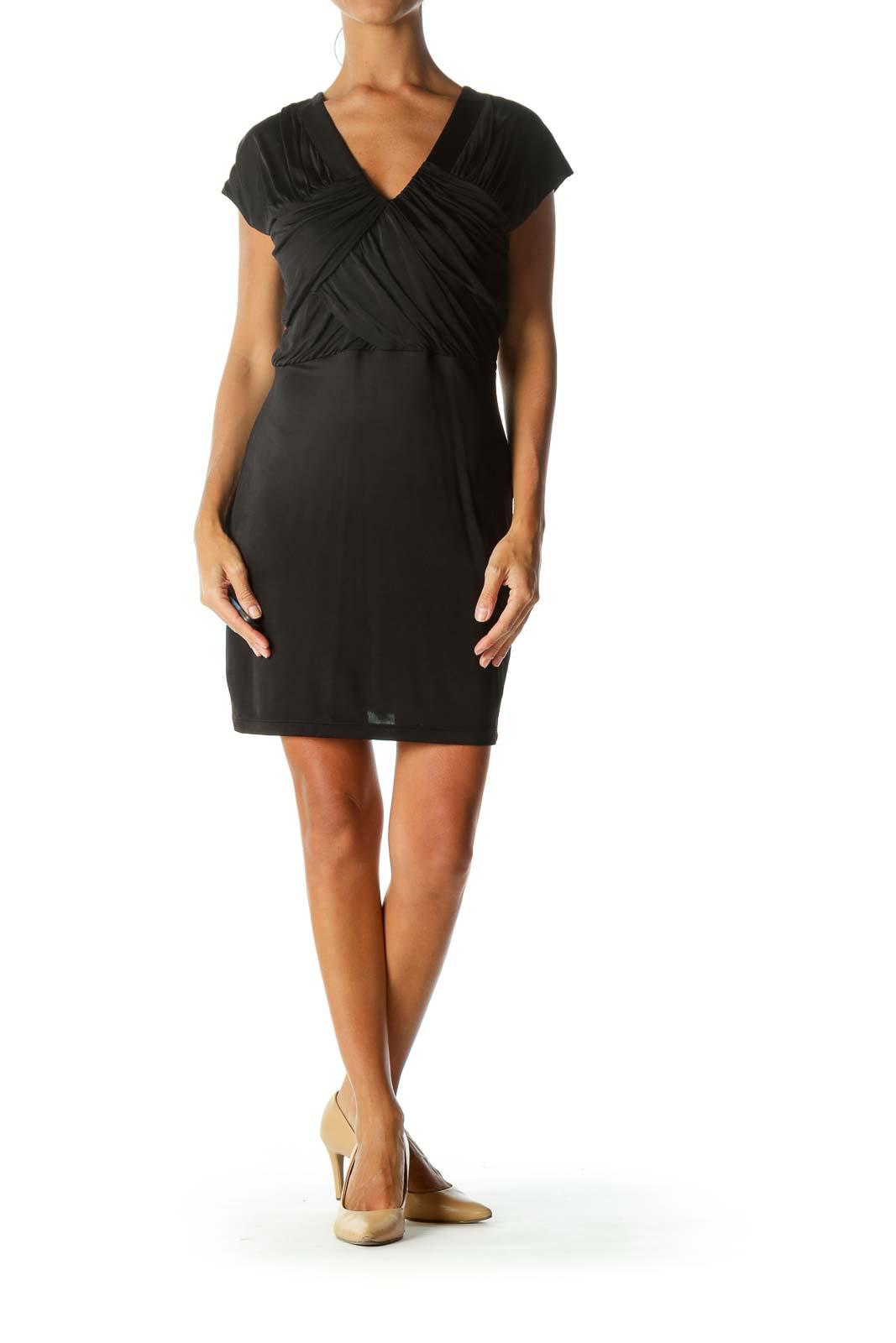 Black Breast-Pleated Cap-Sleeve Cocktail Dress