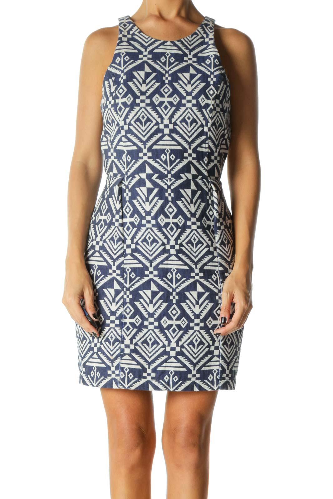 Blue & White Aztec Print Sleeveless Day Dress