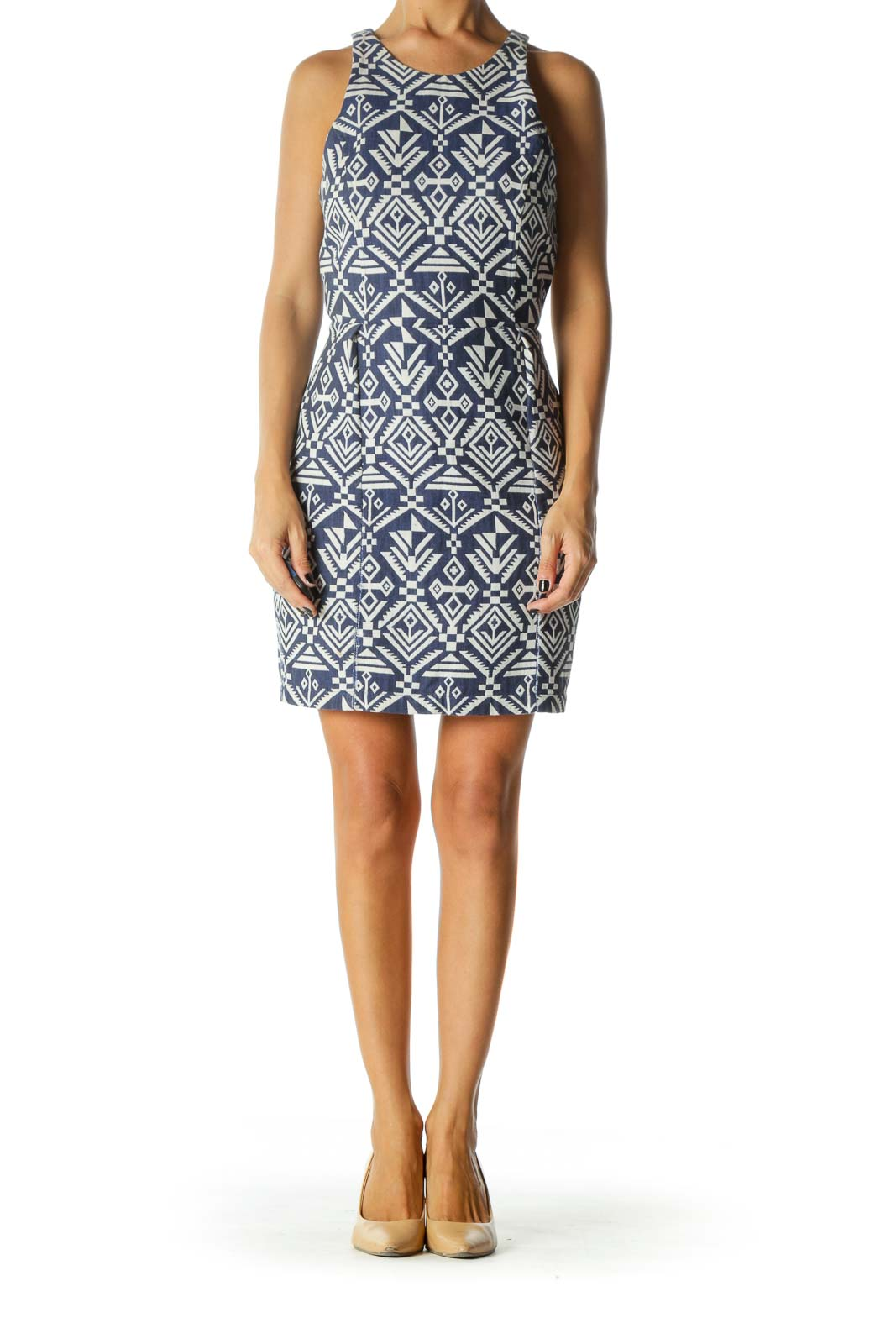 Blue & White Aztec Print Sleeveless Day Dress