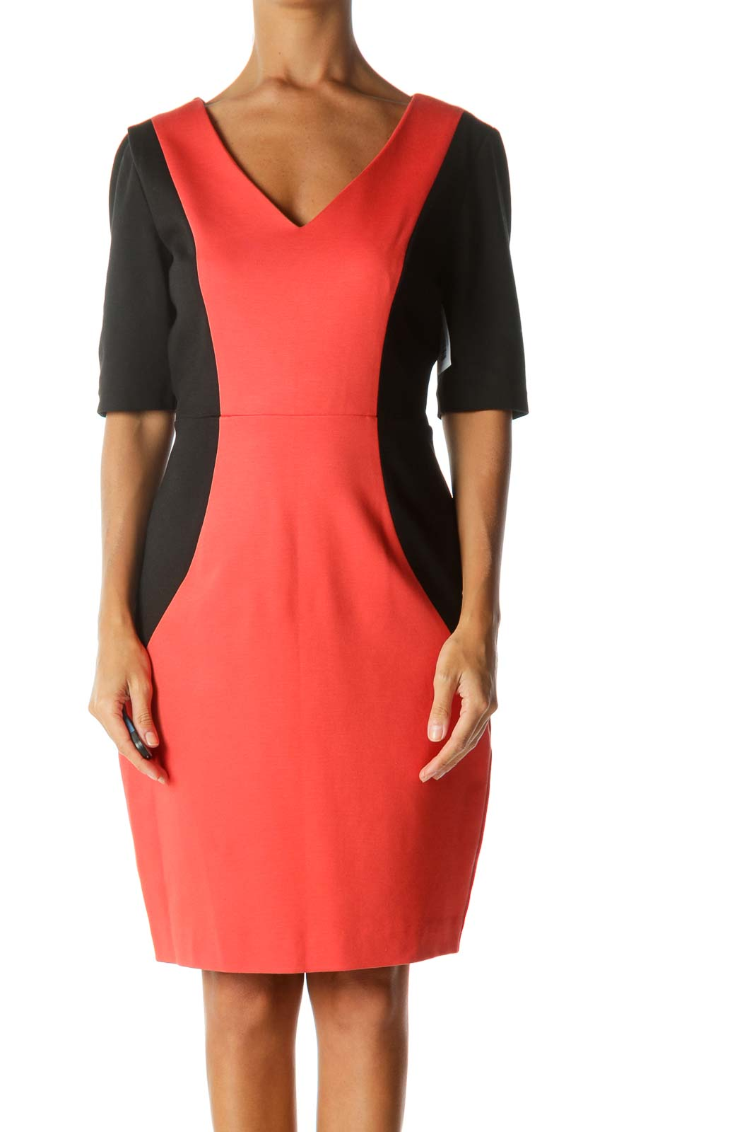 Orange & Black Color-Block Short-Sleeve V-Neck Work Dress