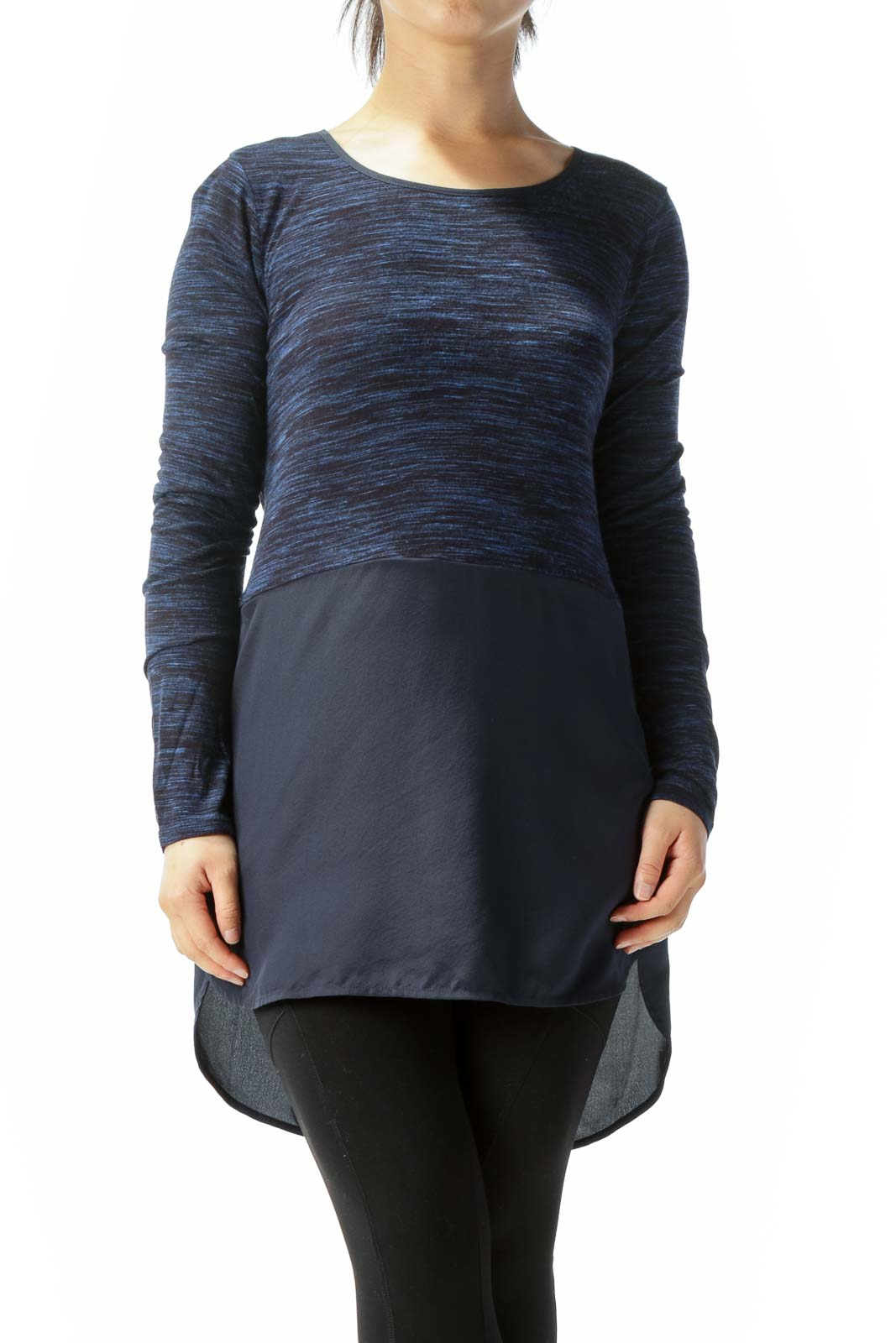 Blue Round Neck Long Sleeve Mixed Media High Low Top
