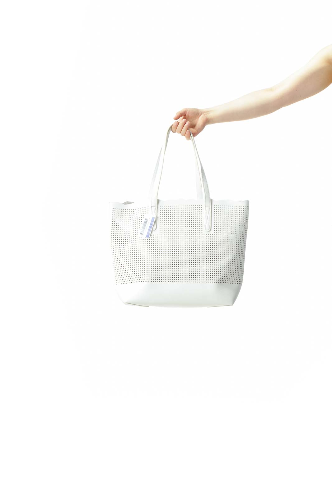 White Cut-Out See-Through Design Open Tote