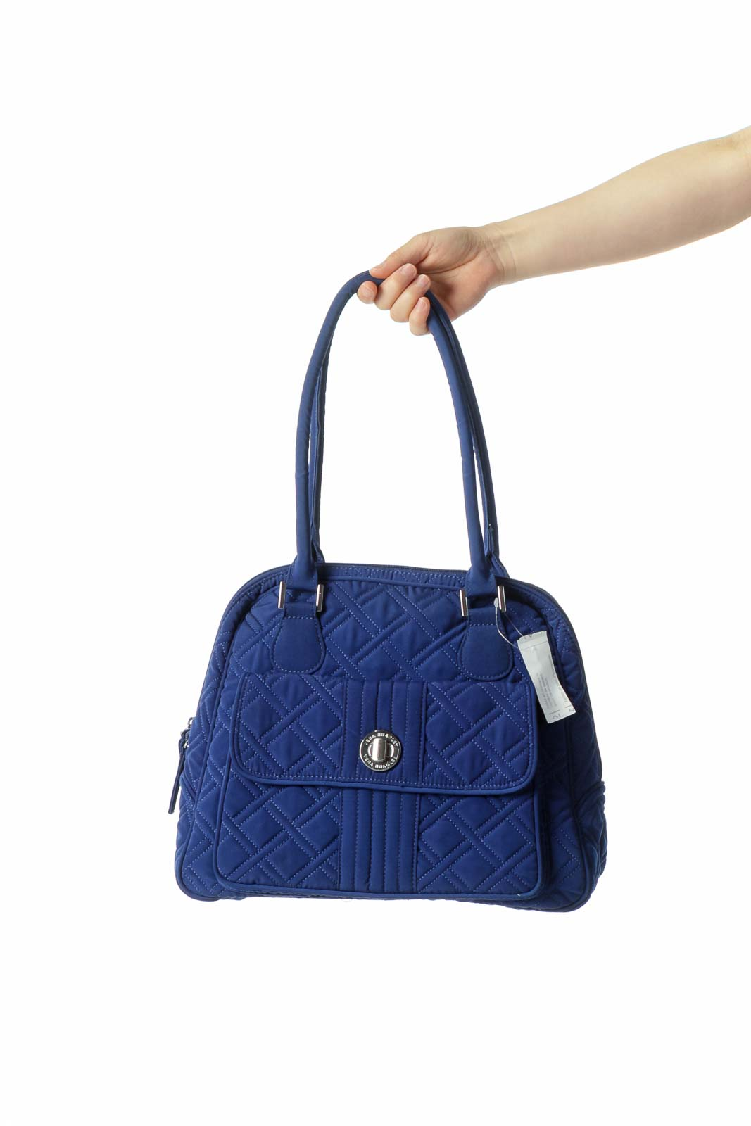 Royal Blue Quilted Outside Pocket Zipper Shoulder Bag