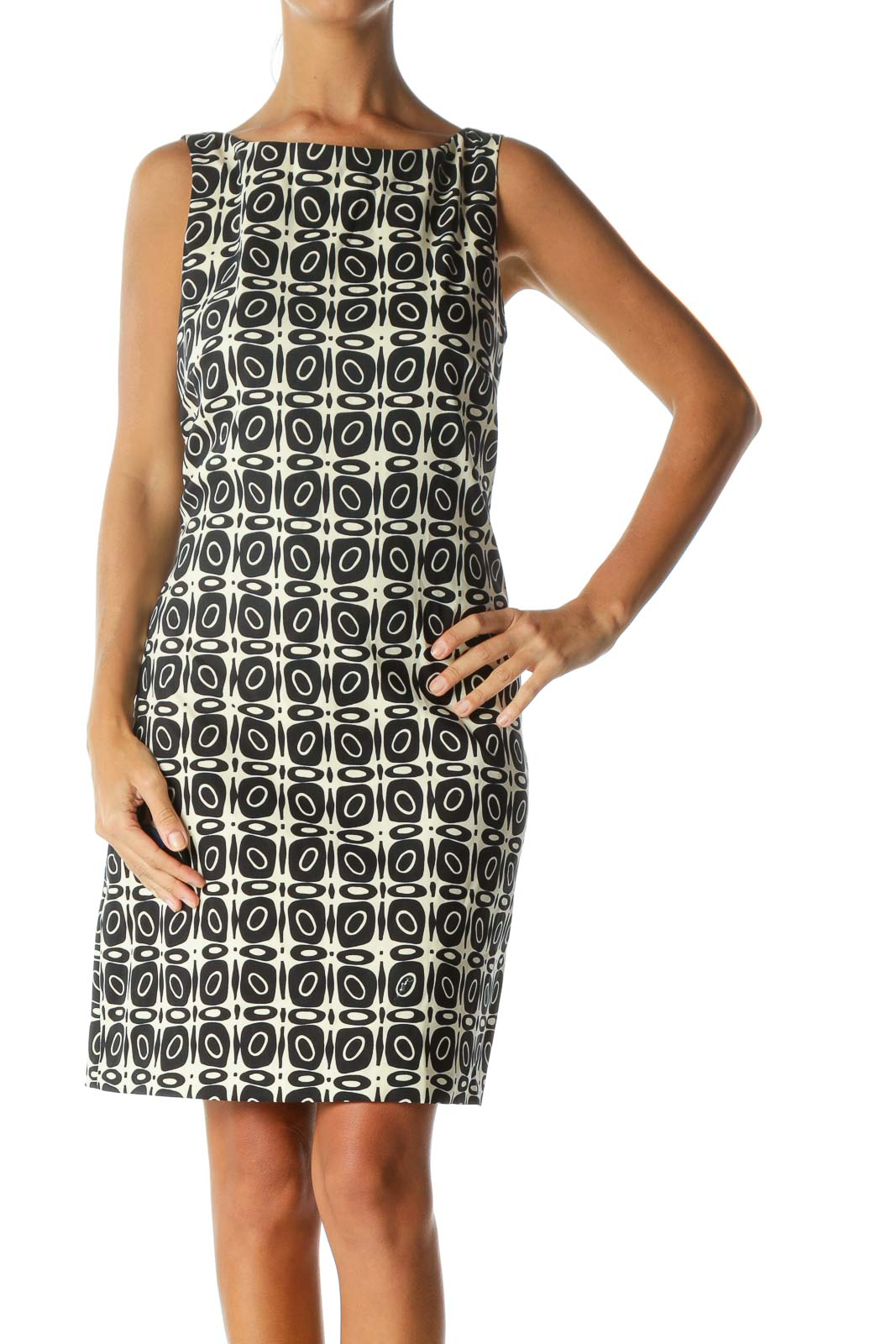 Blue Cream Printed Zippered Work Dress