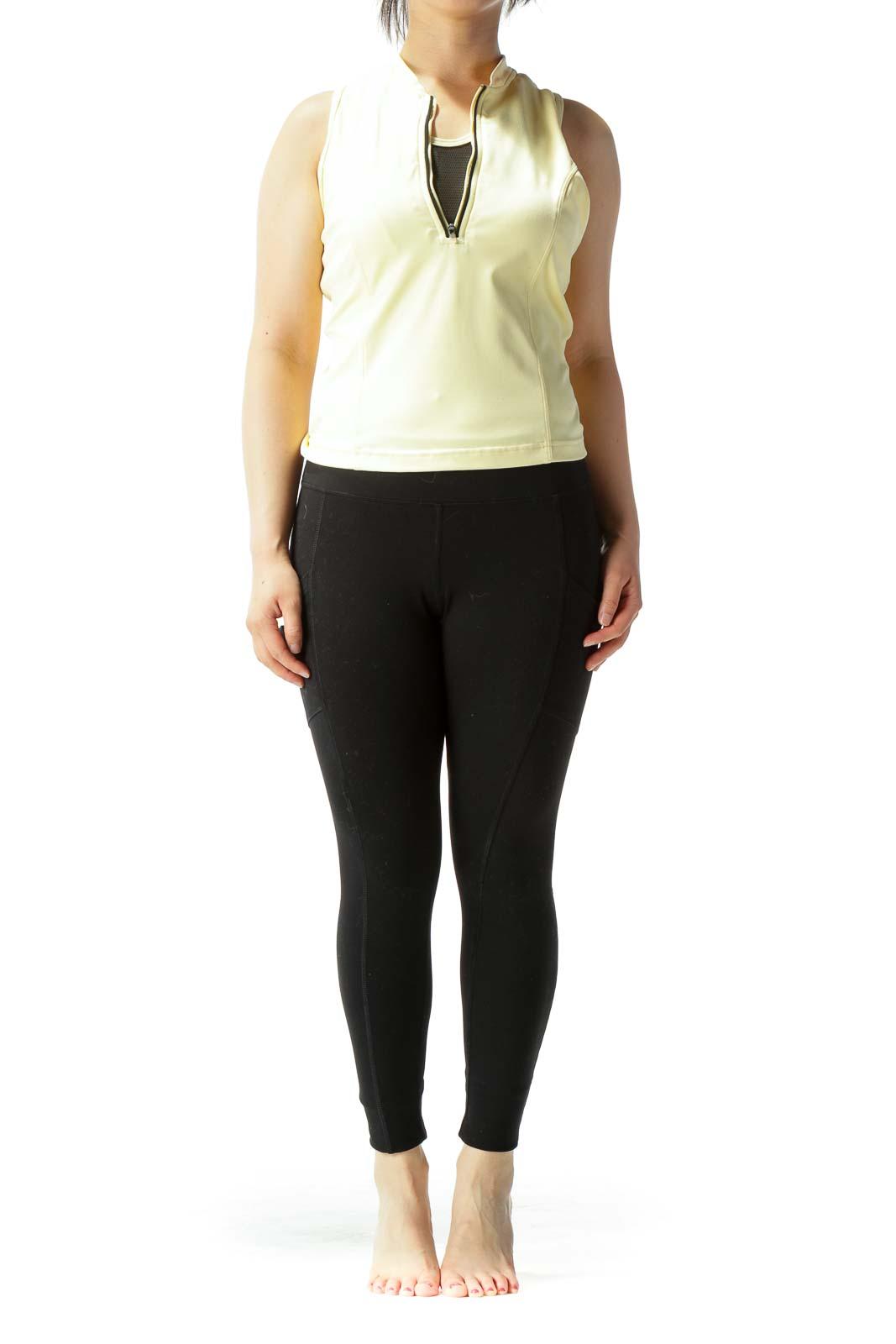Light Yellow Black Zippered Built-In Mesh Bra Sleeveless Sports Top