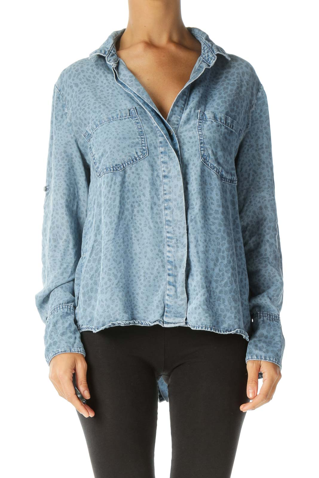 Blue Printed Light-Wash Pocketed Light Faux-Denim Shirt