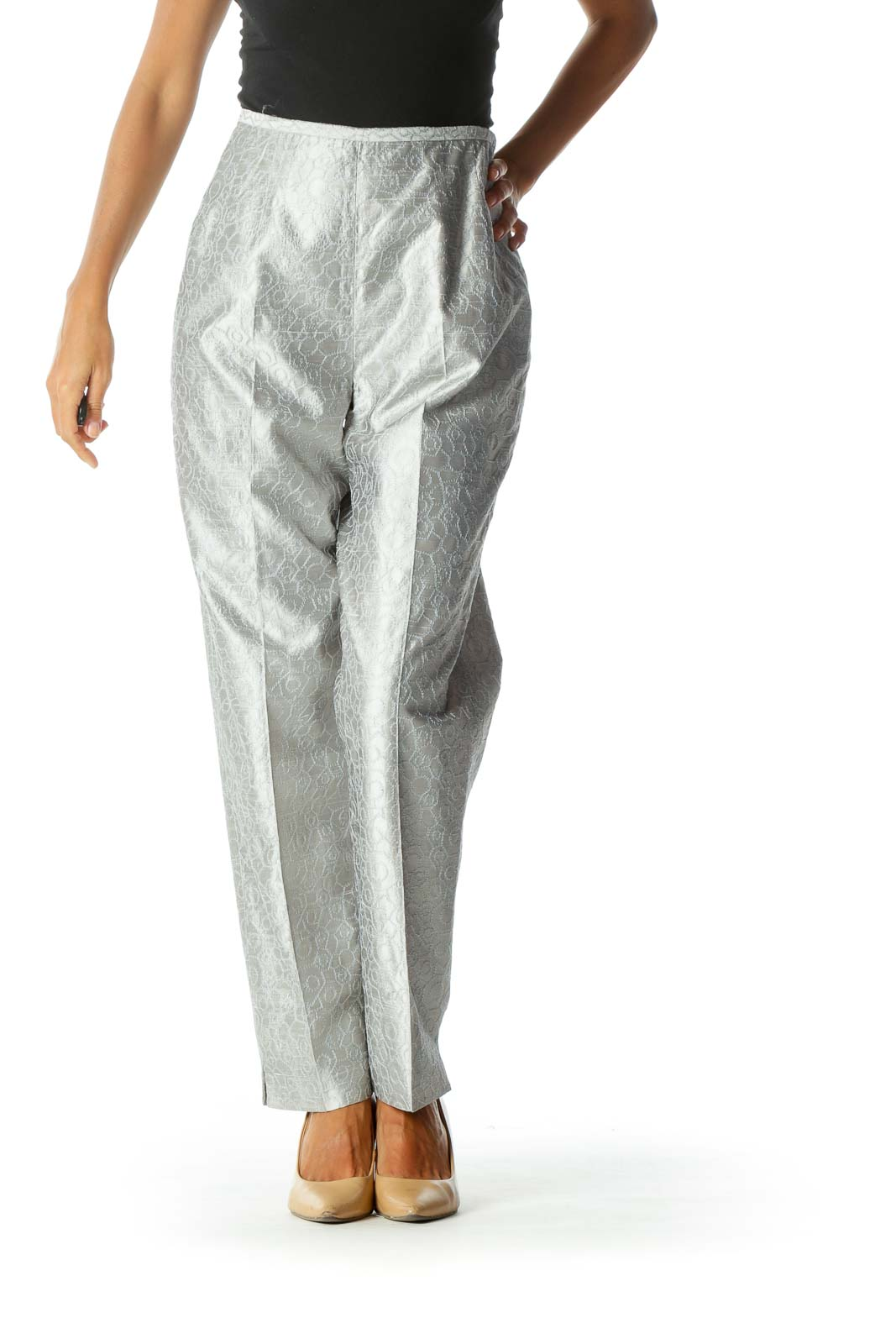 Silver Textured Pattern Tapered Side-Zipper Pants