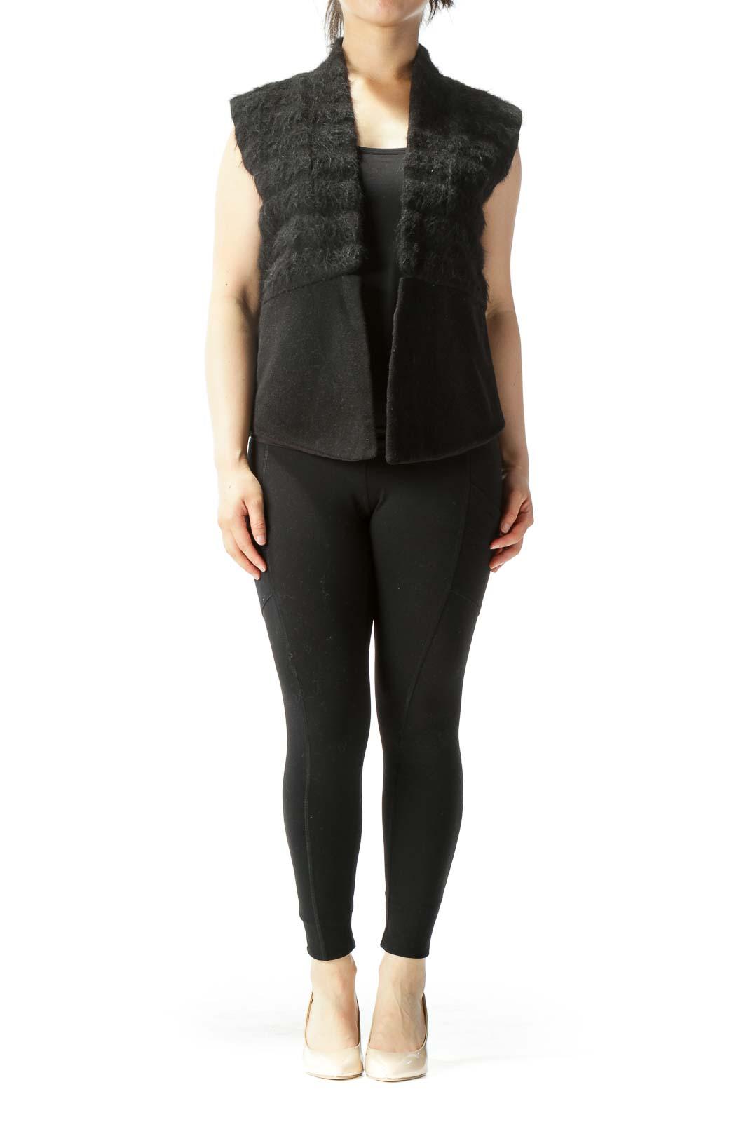 Black Textured Wool Open Vest