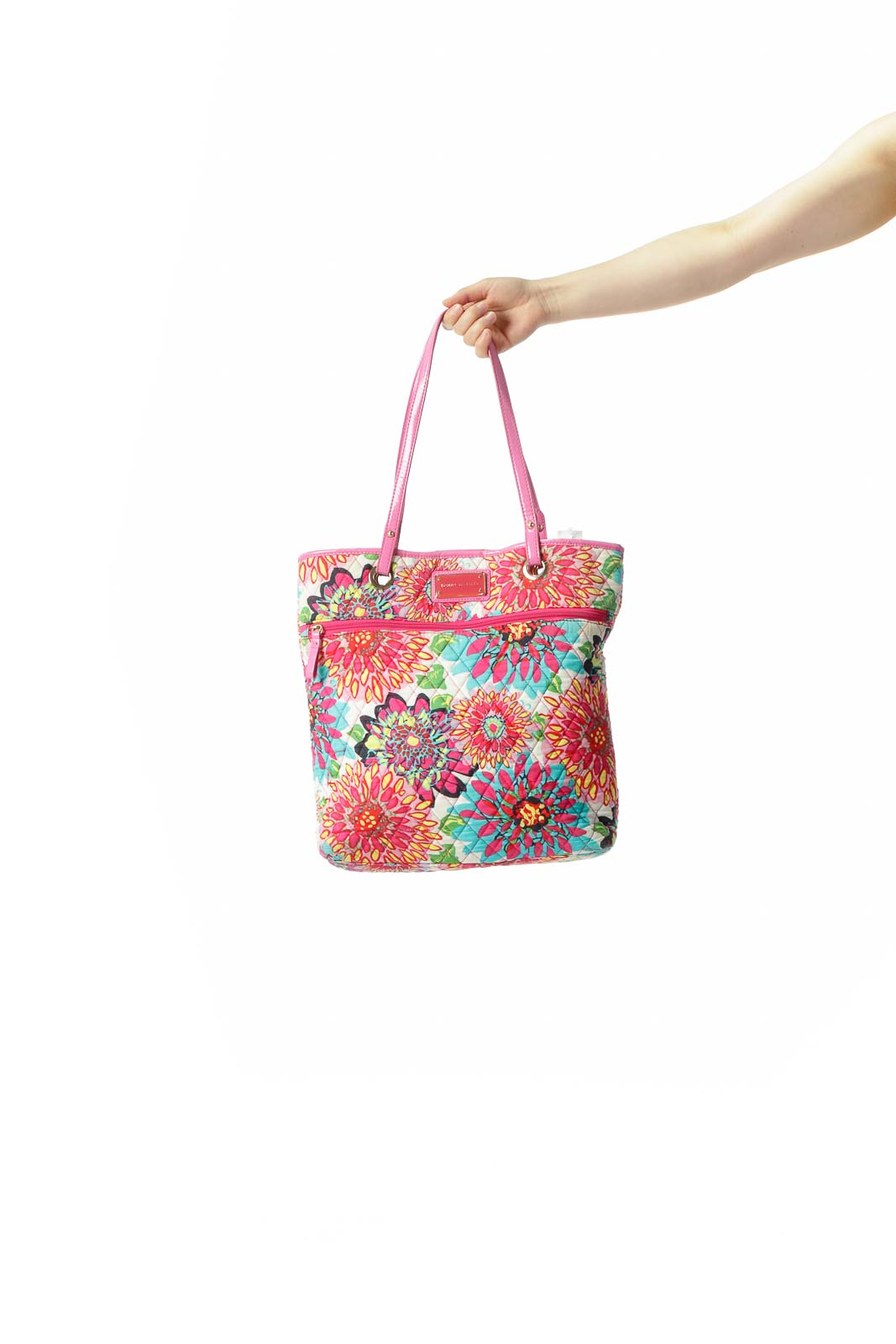 Pink Multicolored Floral-Print Quilted Magnetic Closure Tote