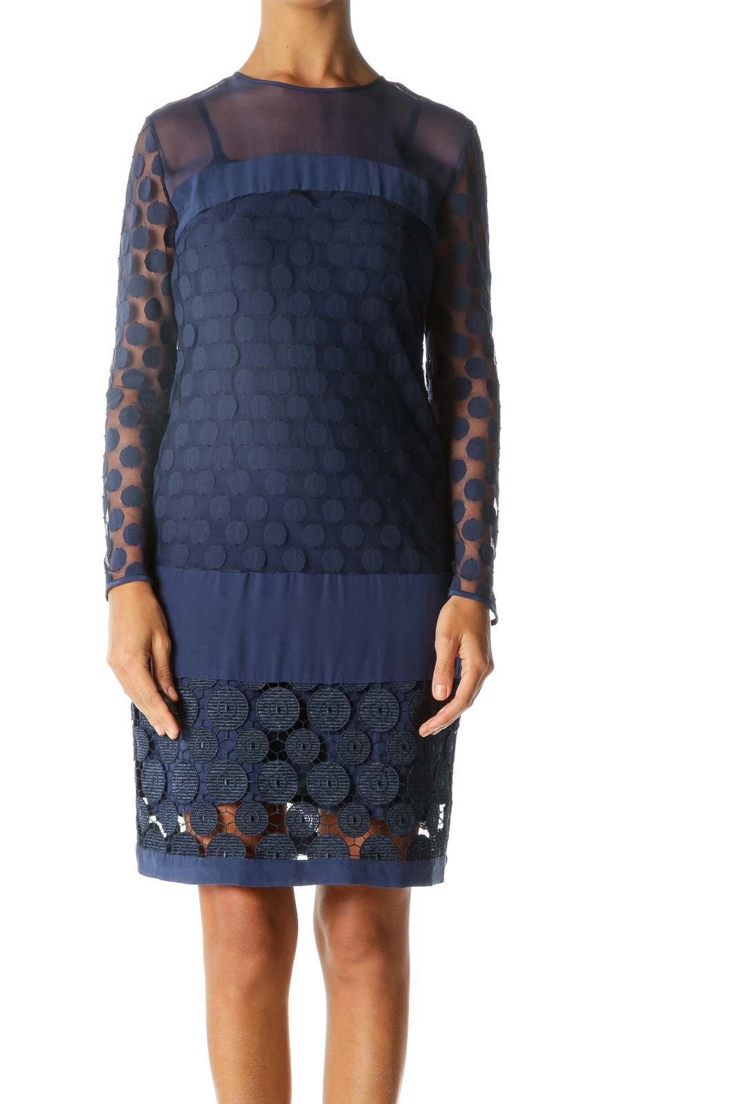 Blue Appliques Knitted See Through Long Sleeve Dress