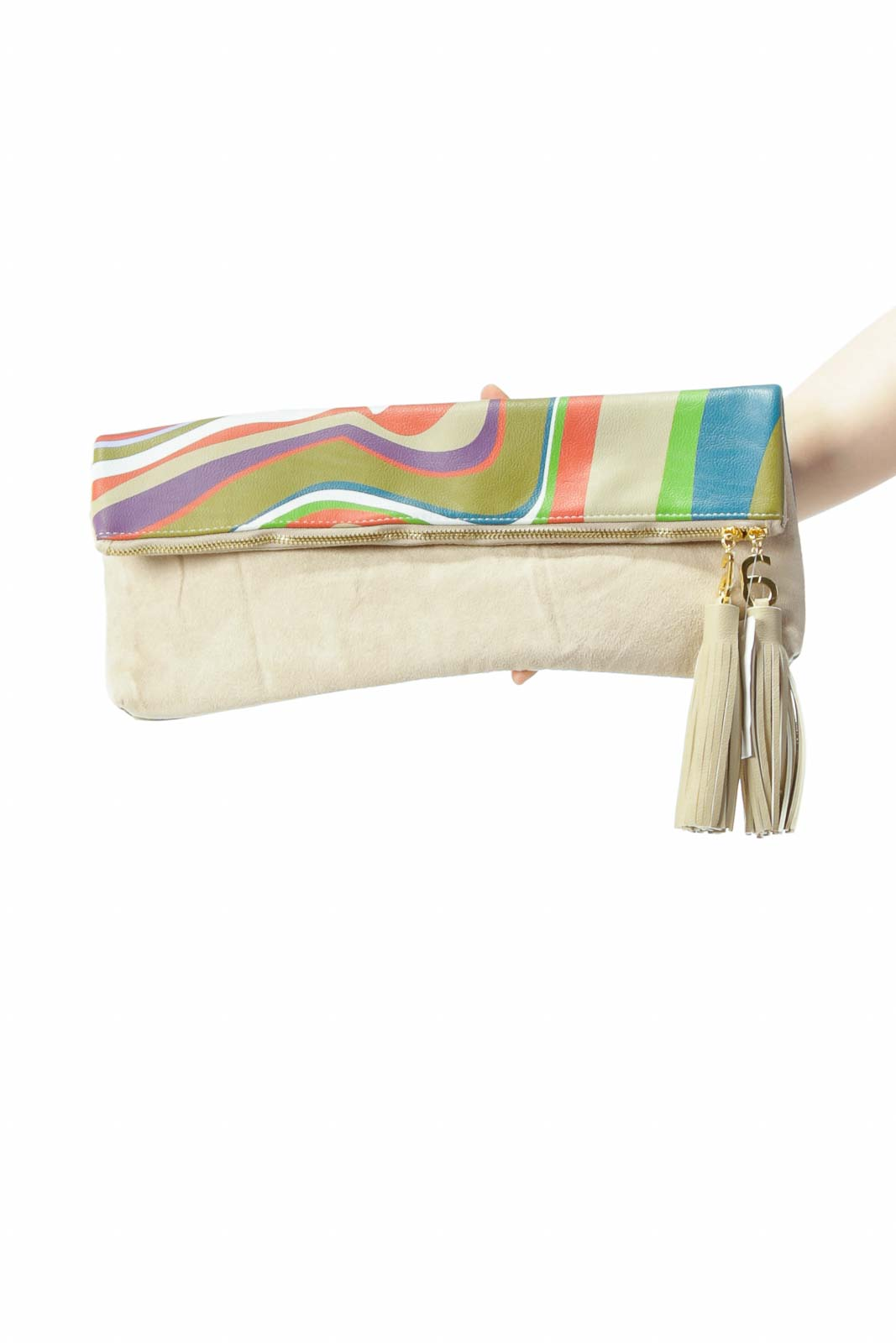 Beige Gold Multicolor Flap-Print Faux-Suede Zippered Clutch with Tassels